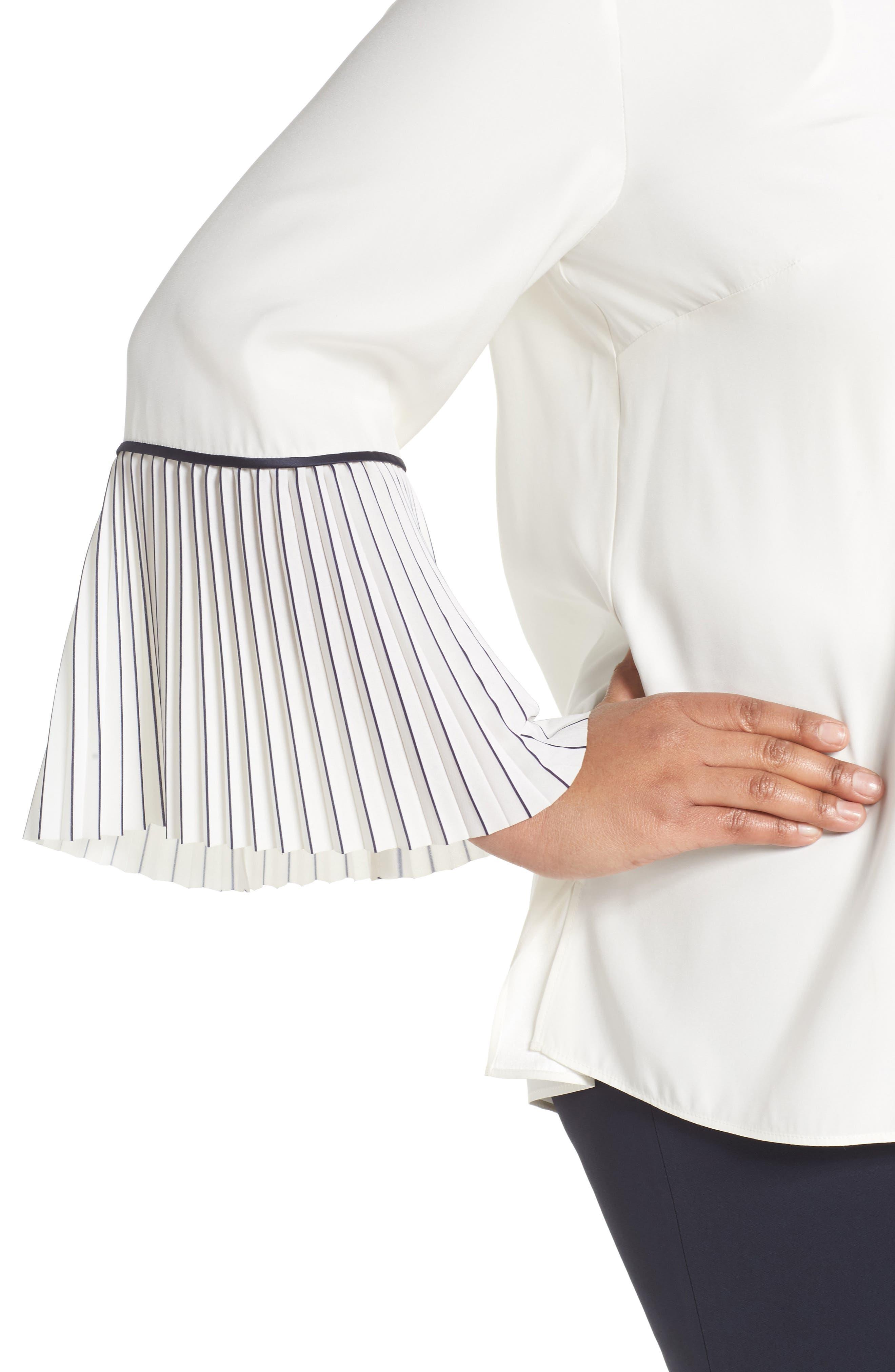 Lafayette 148 Nemy Pleated Bell Sleeve Silk Blouse,                             Alternate thumbnail 4, color,                             900