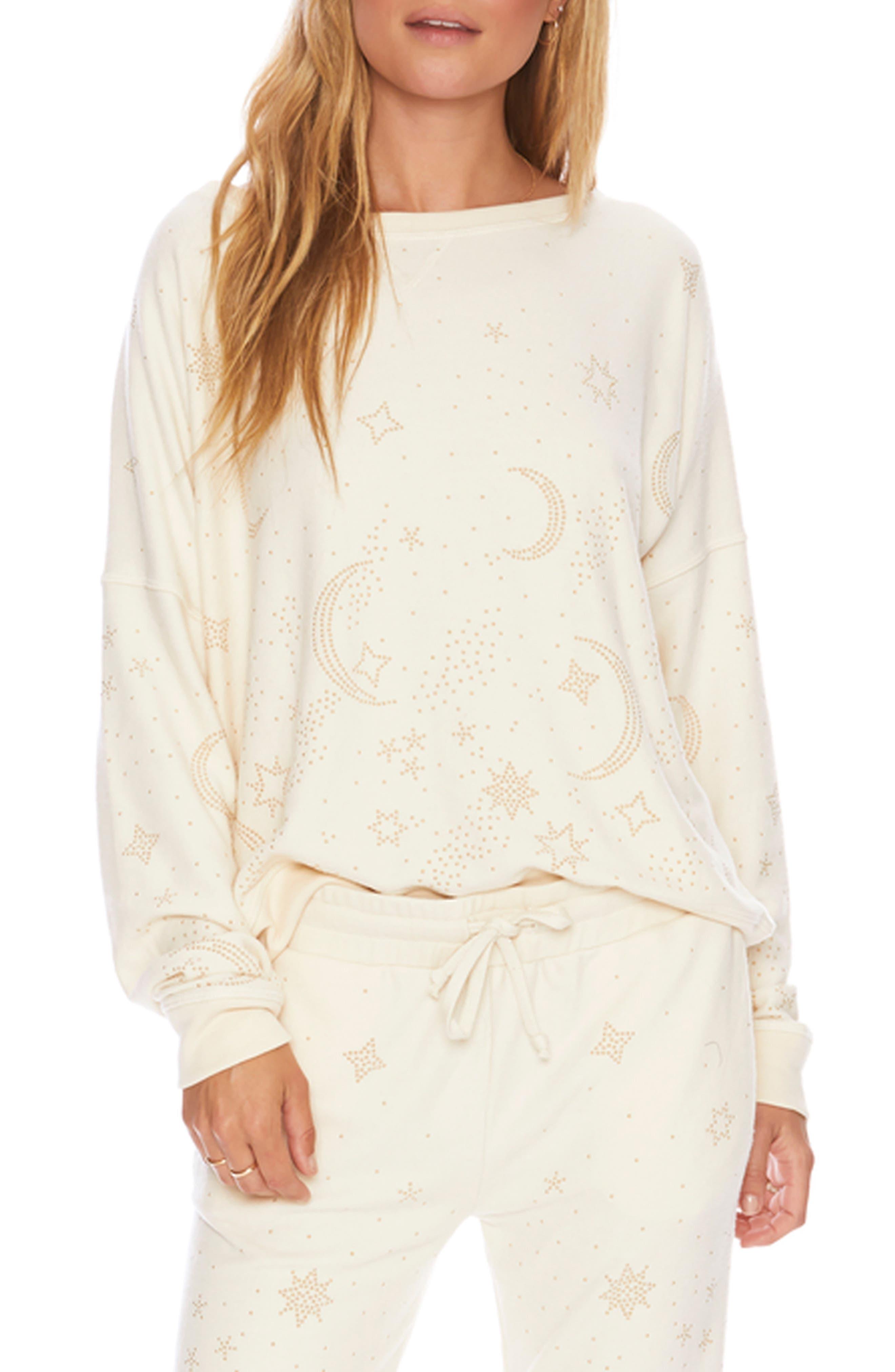 BEACH RIOT Moon Studded Sweatshirt in Ivory