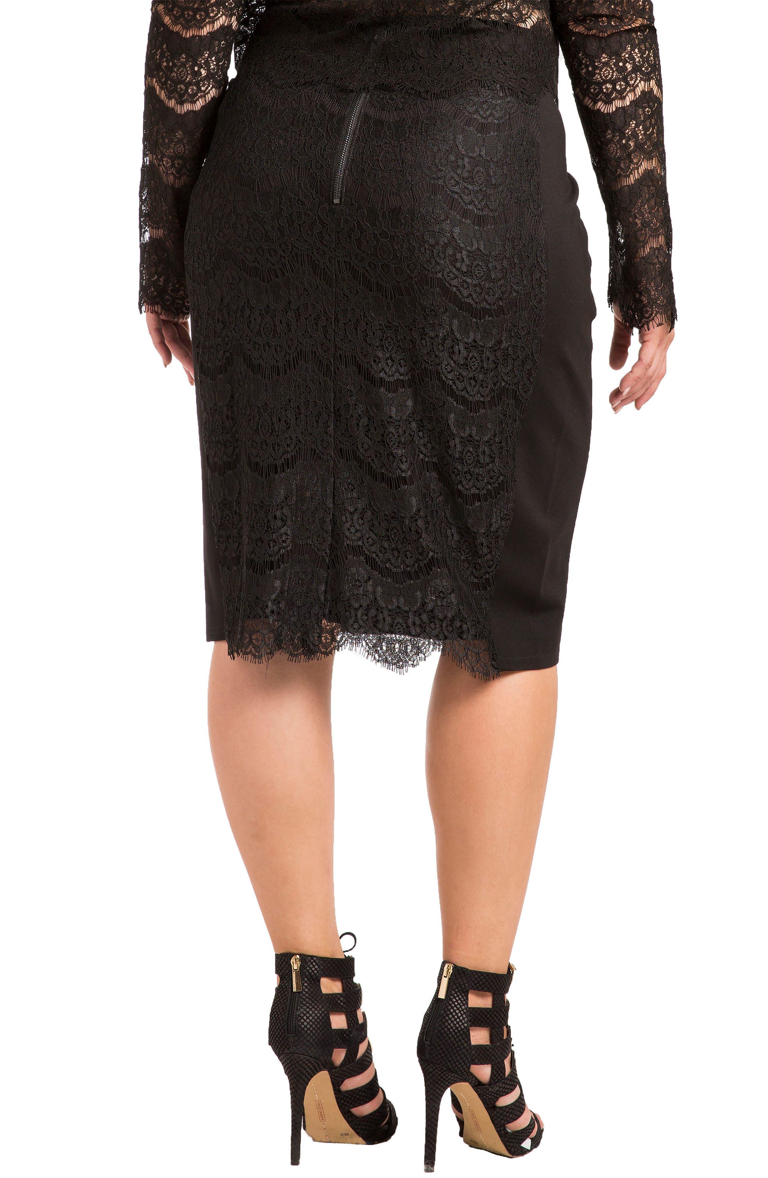 Tori Lace Overlay Pencil Skirt,                             Alternate thumbnail 2, color,                             BLACK