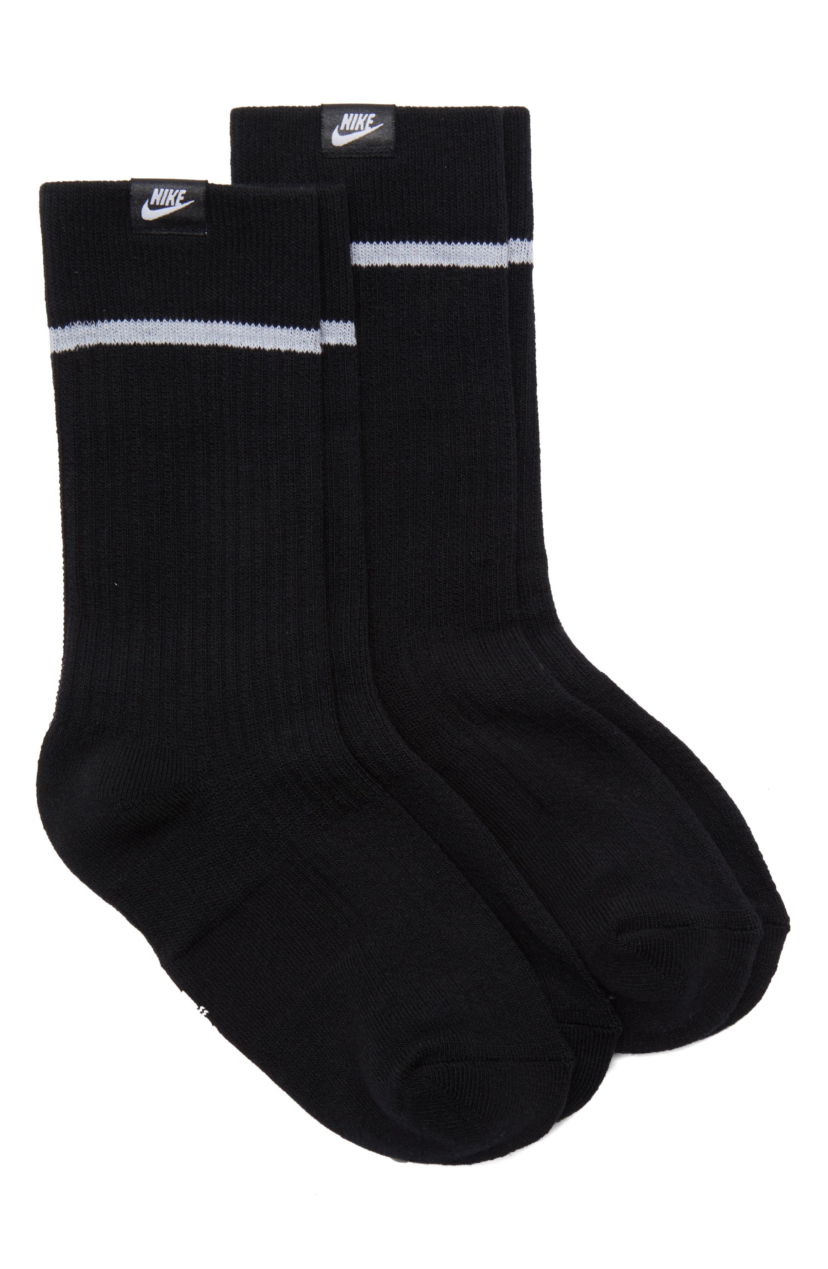 NikeLab 2-Pack Essential Crew Socks,                             Main thumbnail 1, color,                             BLACK/ WHITE