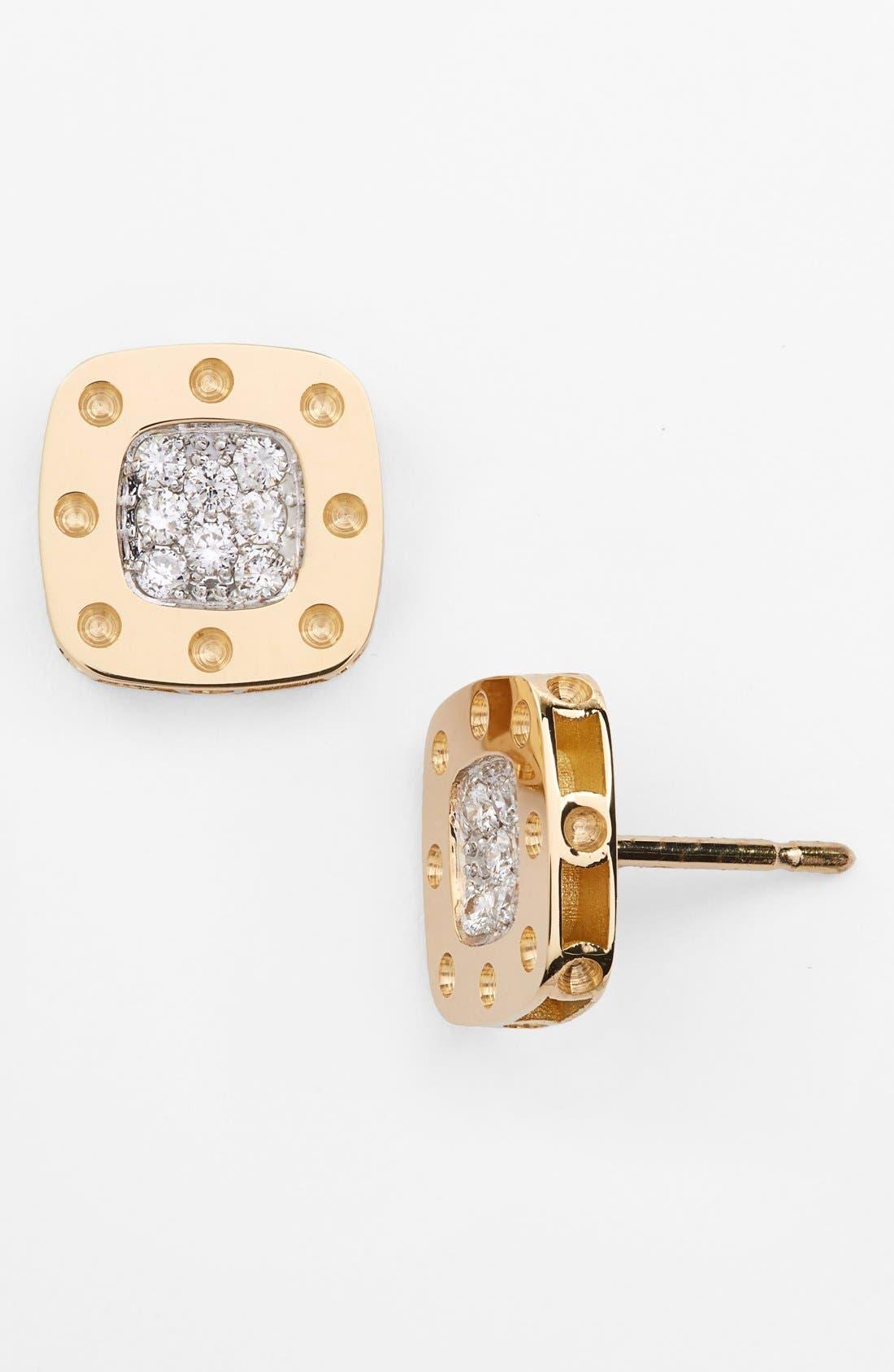 'Pois Moi' Diamond Stud Earrings,                         Main,                         color, YELLOW GOLD