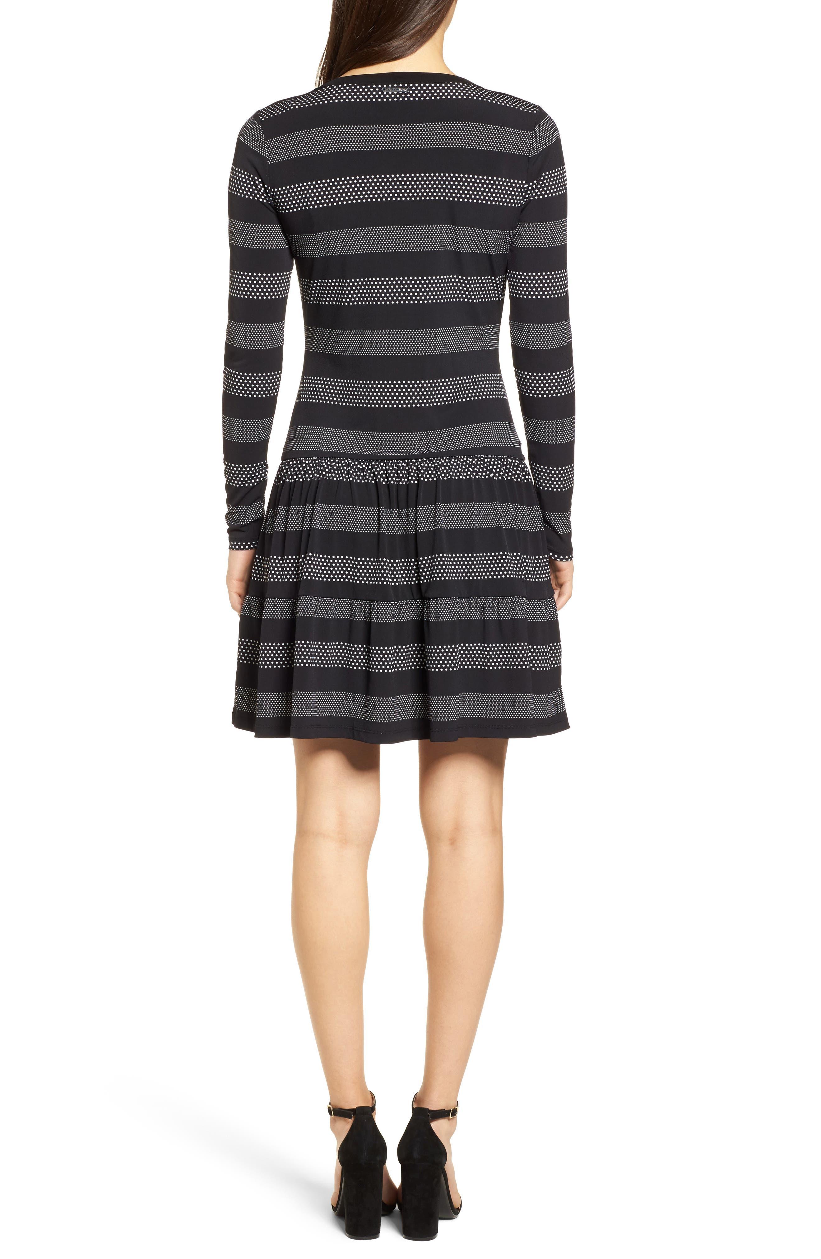 Stripe Dot Drop Waist Dress,                             Alternate thumbnail 2, color,                             018