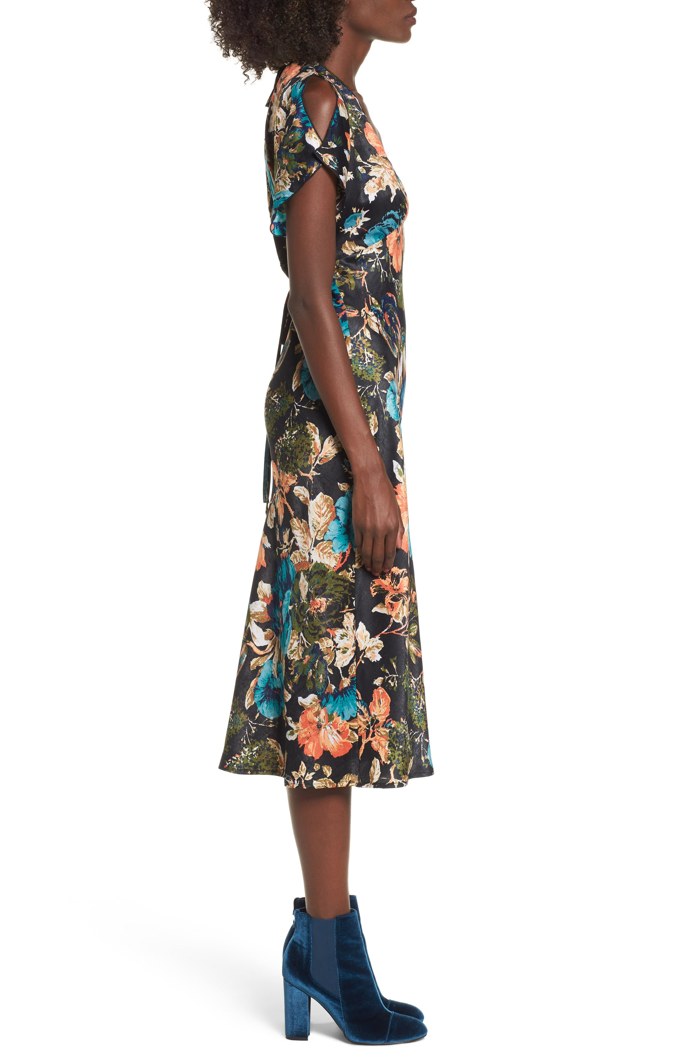 Peony Floral Midi Dress,                             Alternate thumbnail 3, color,                             007