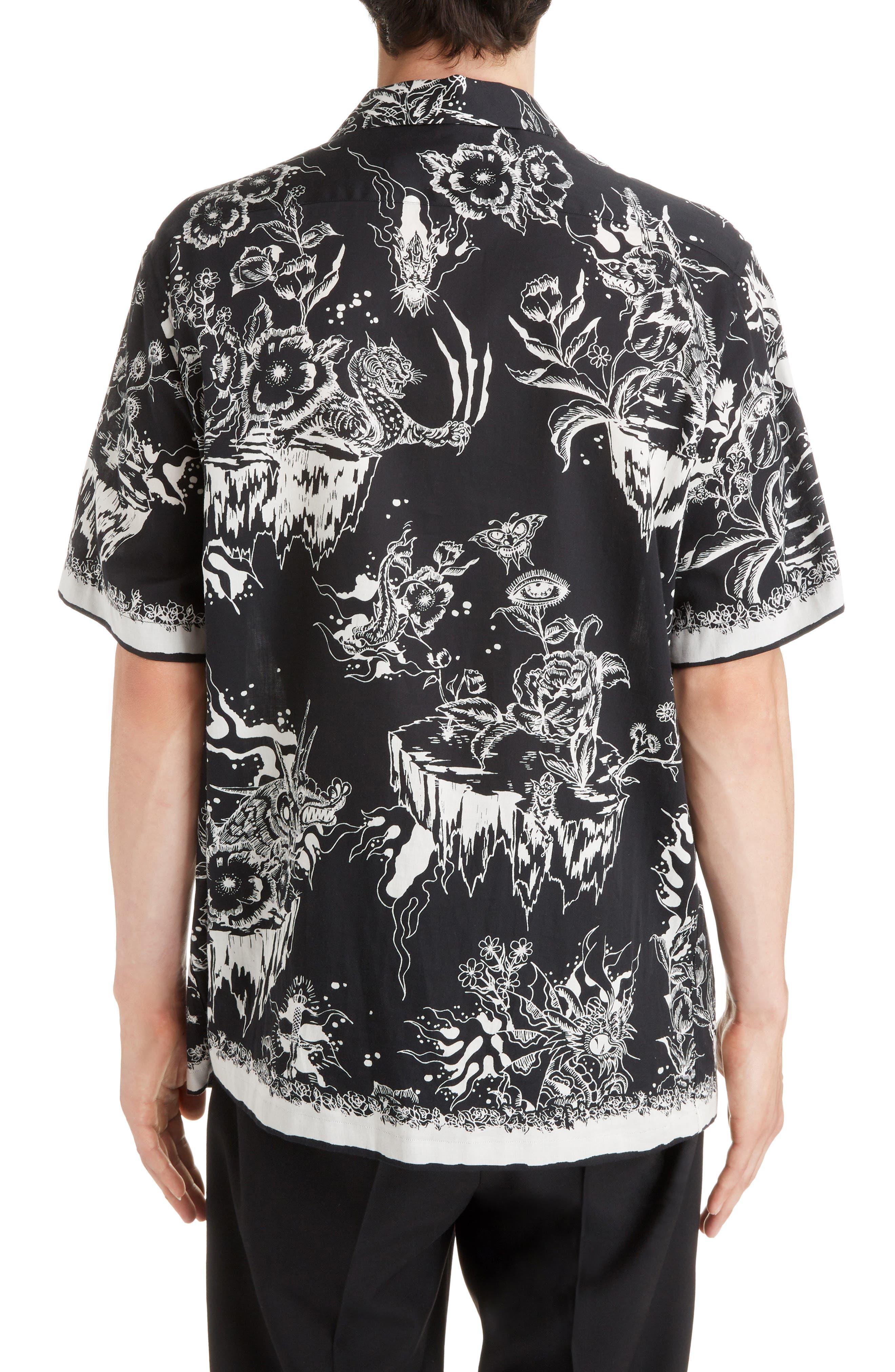 Dragon Sky Camp Shirt,                             Alternate thumbnail 3, color,                             BLACK