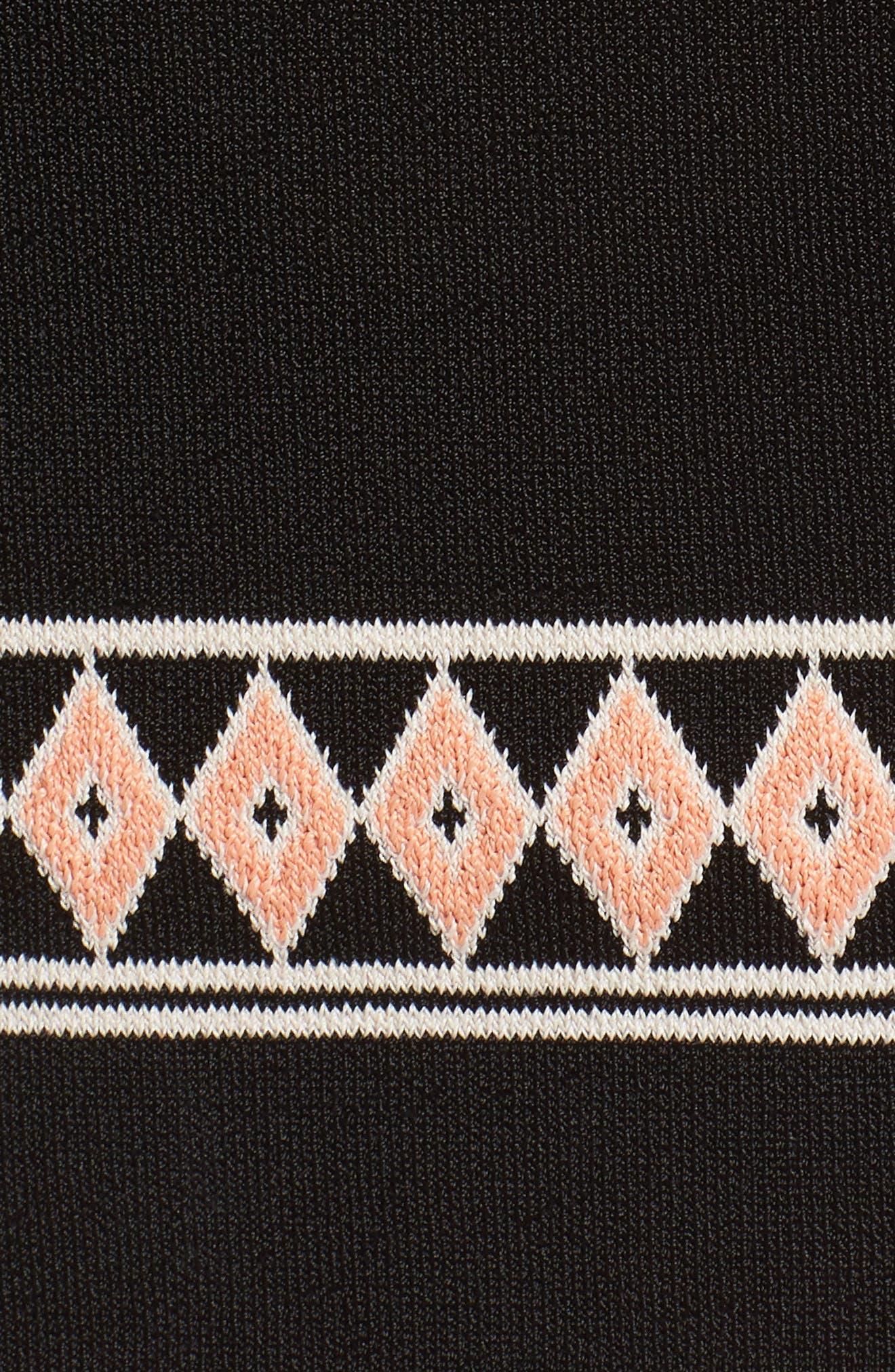 Body-Con Knit Dress,                             Alternate thumbnail 5, color,                             BLACK