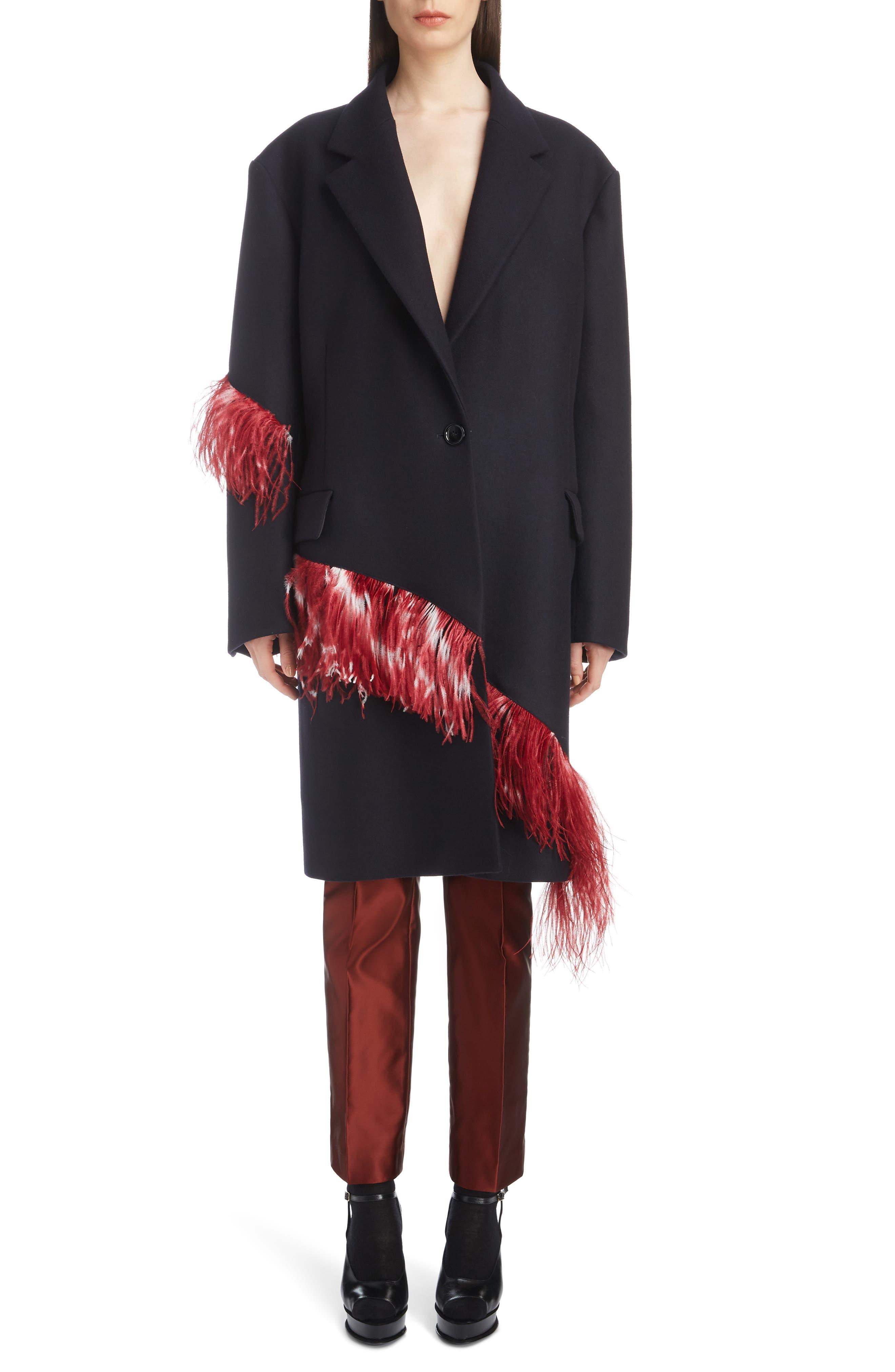 DRIES VAN NOTEN,                             Ostrich Feather Trim Wool Blend Reefer Coat,                             Alternate thumbnail 6, color,                             421