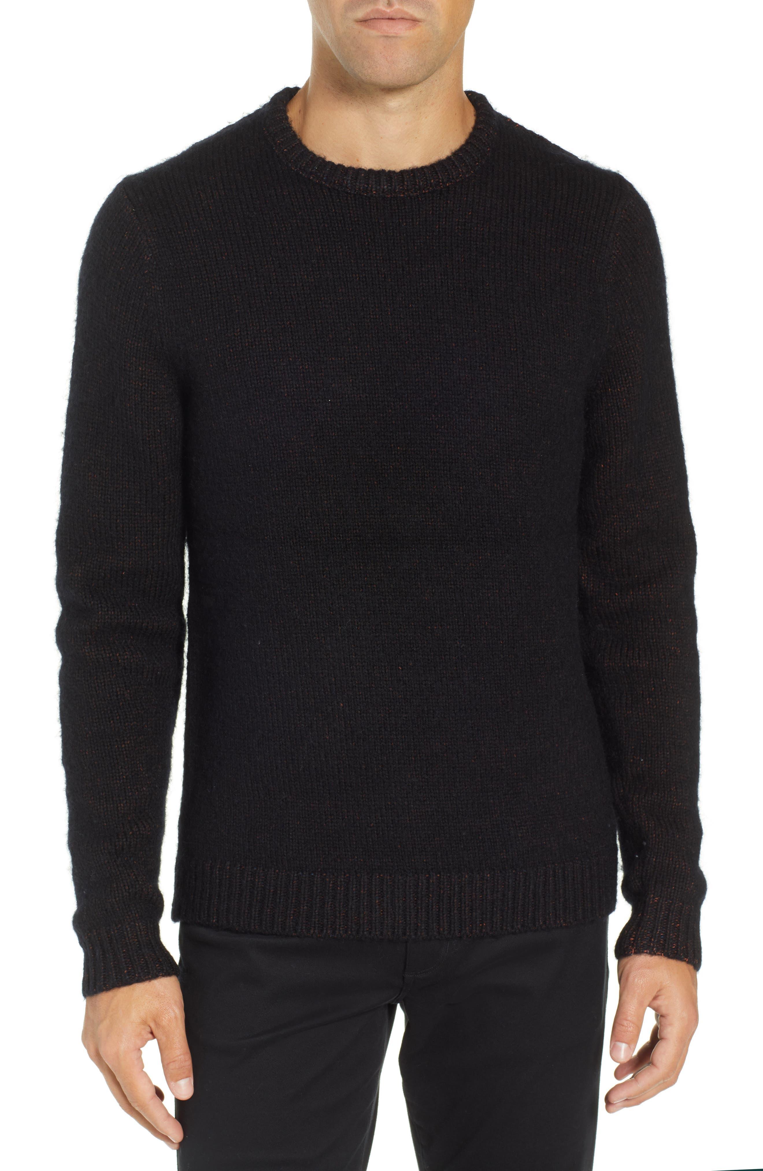 Chunky Crewneck Sweater,                             Main thumbnail 1, color,                             BLACK CAVIAR TWIST
