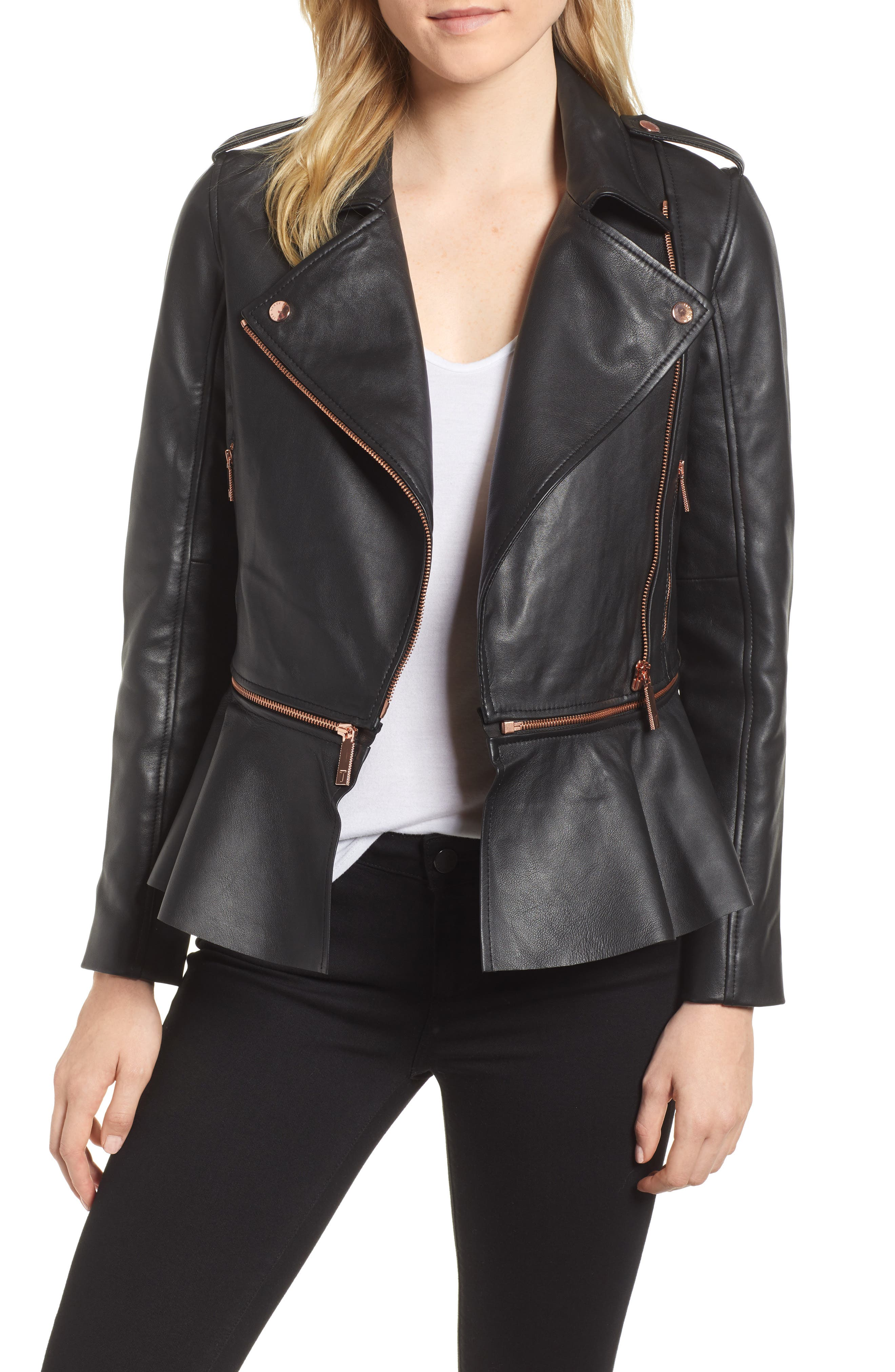 Zip-Off Peplum Leather Biker Jacket,                         Main,                         color, 001