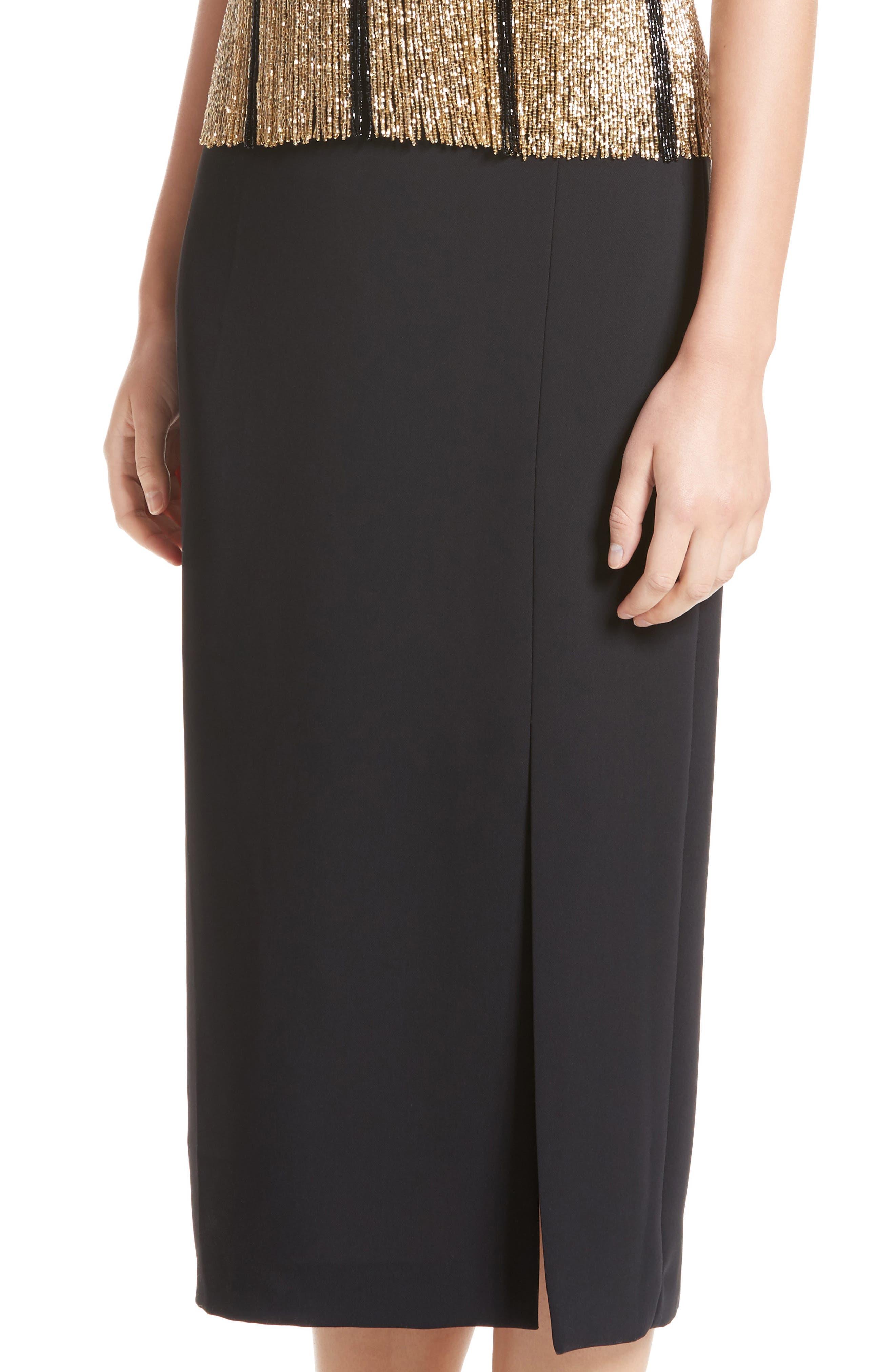 Beaded Fringe Waist Dress,                             Alternate thumbnail 4, color,