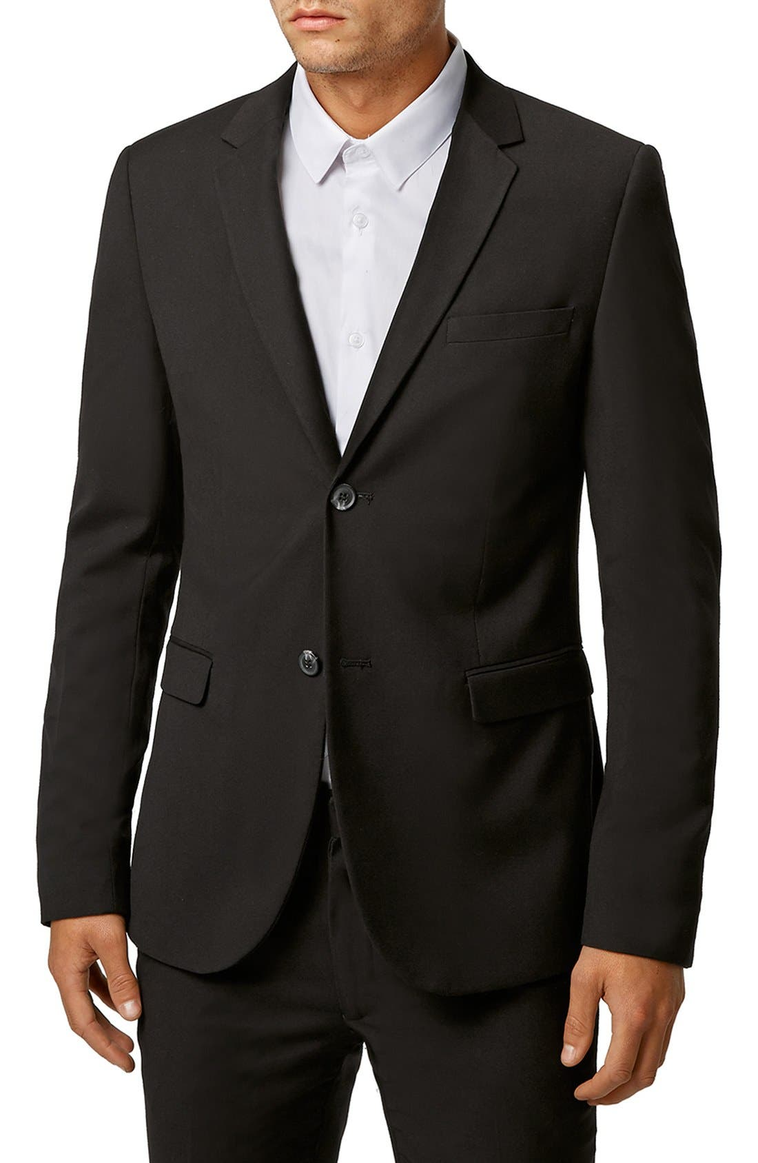Ultra Skinny Black Suit Jacket,                             Main thumbnail 1, color,                             BLACK