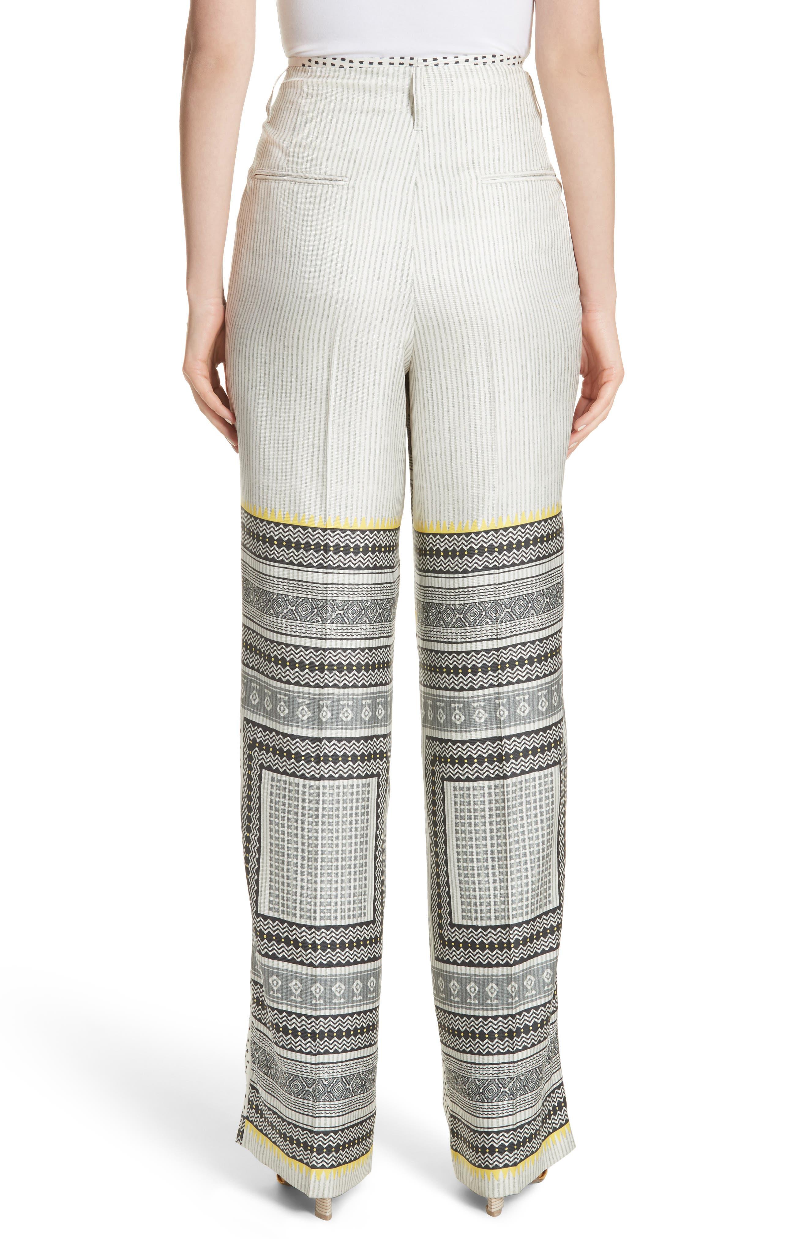 High Waist Silk Twill Pants,                             Alternate thumbnail 2, color,                             100