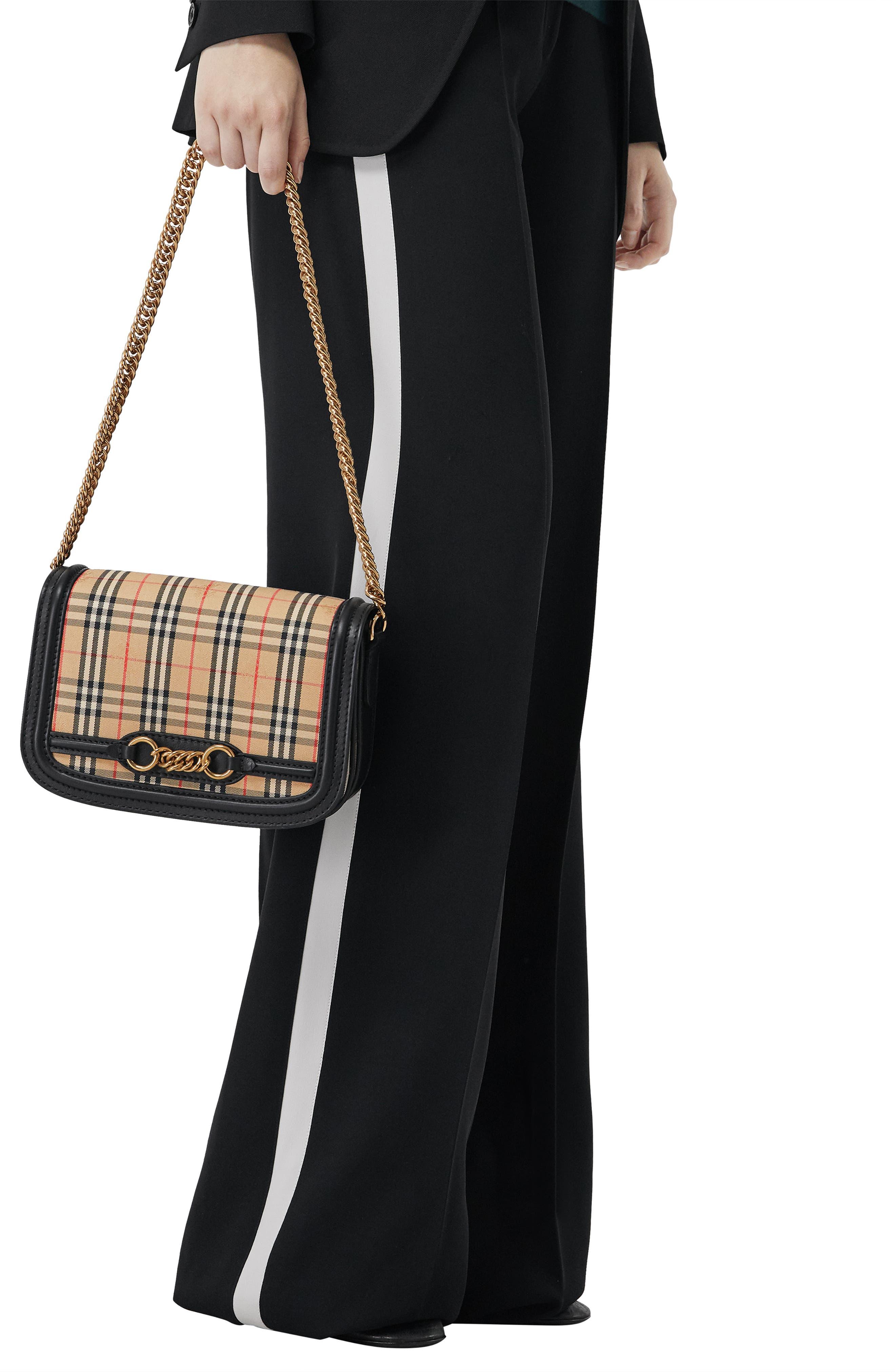 Vintage Check Link Flap Crossbody Bag,                             Alternate thumbnail 7, color,                             BLACK