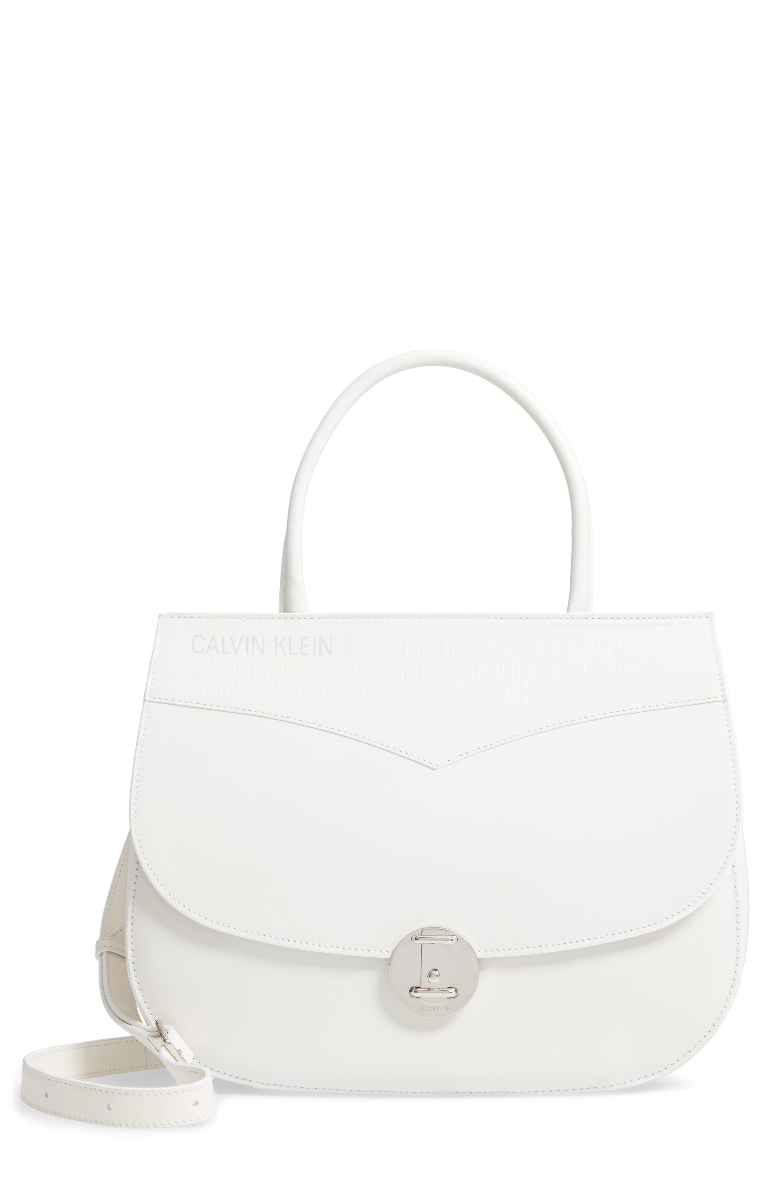 Top Handle Round Lock Shoulder Bag,                         Main,                         color, WHITE