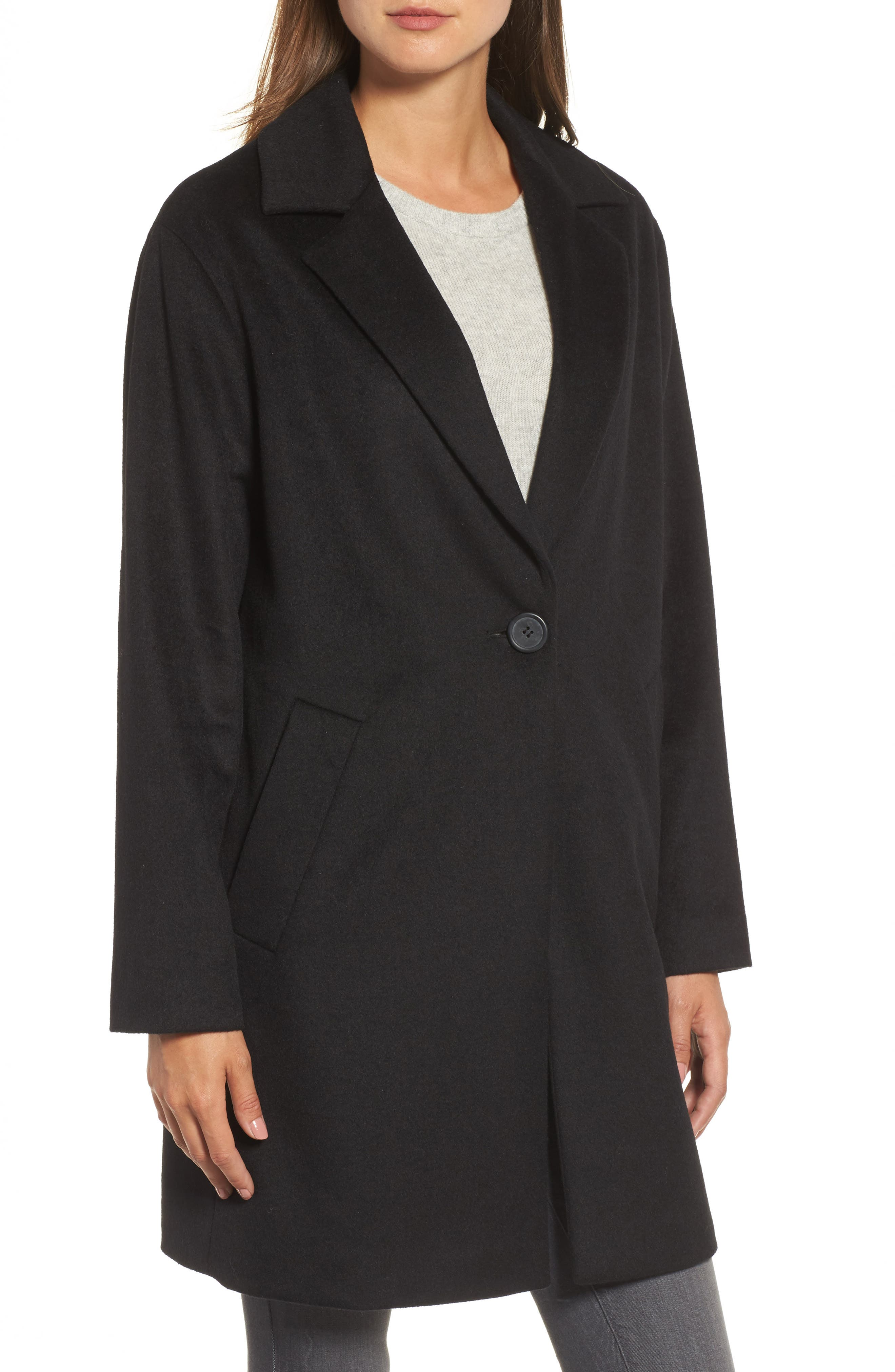 Wool Blend Coat,                             Alternate thumbnail 4, color,                             001
