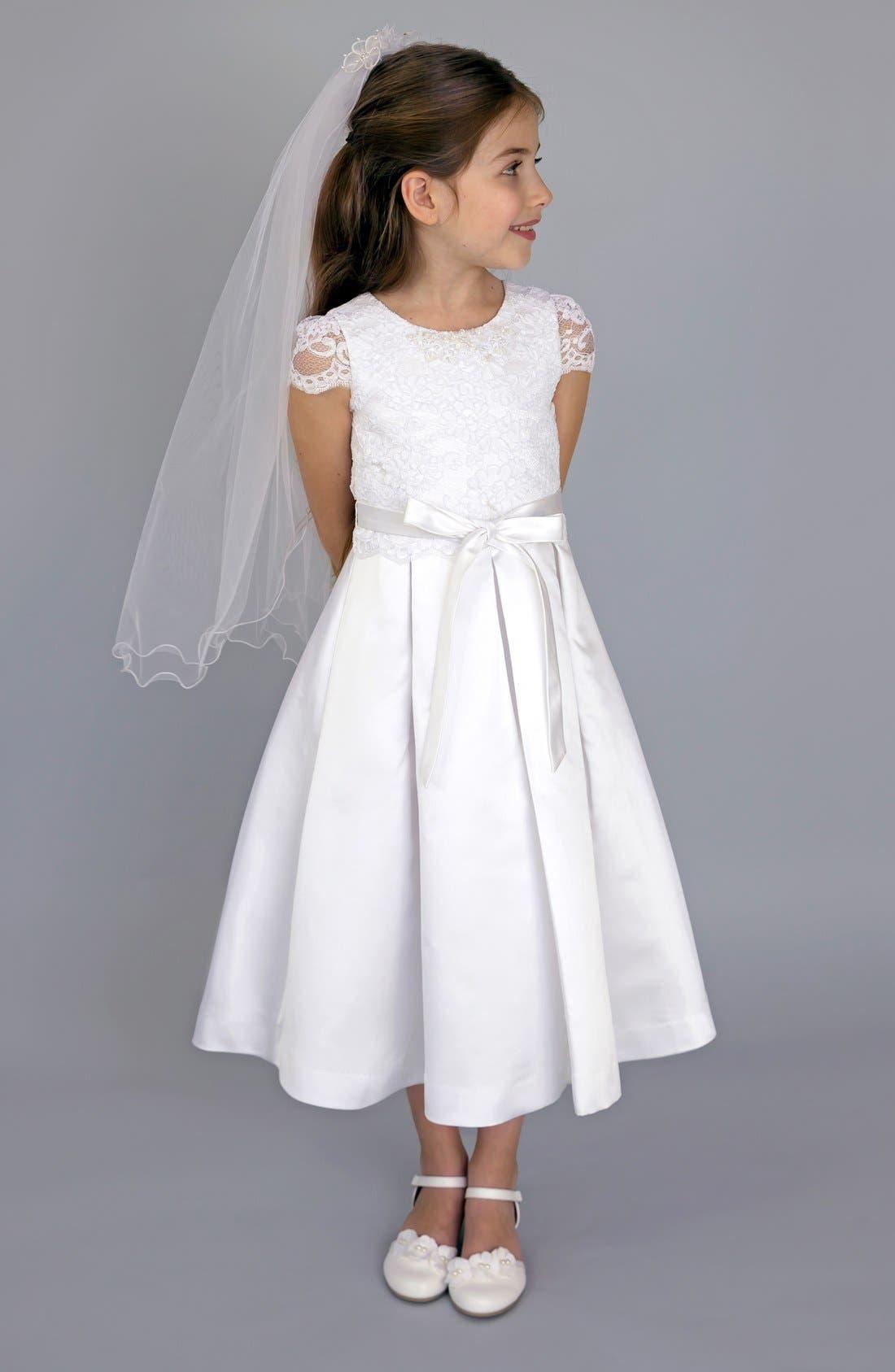 Lace Bodice Box Pleat Dress,                             Main thumbnail 1, color,                             WHITE