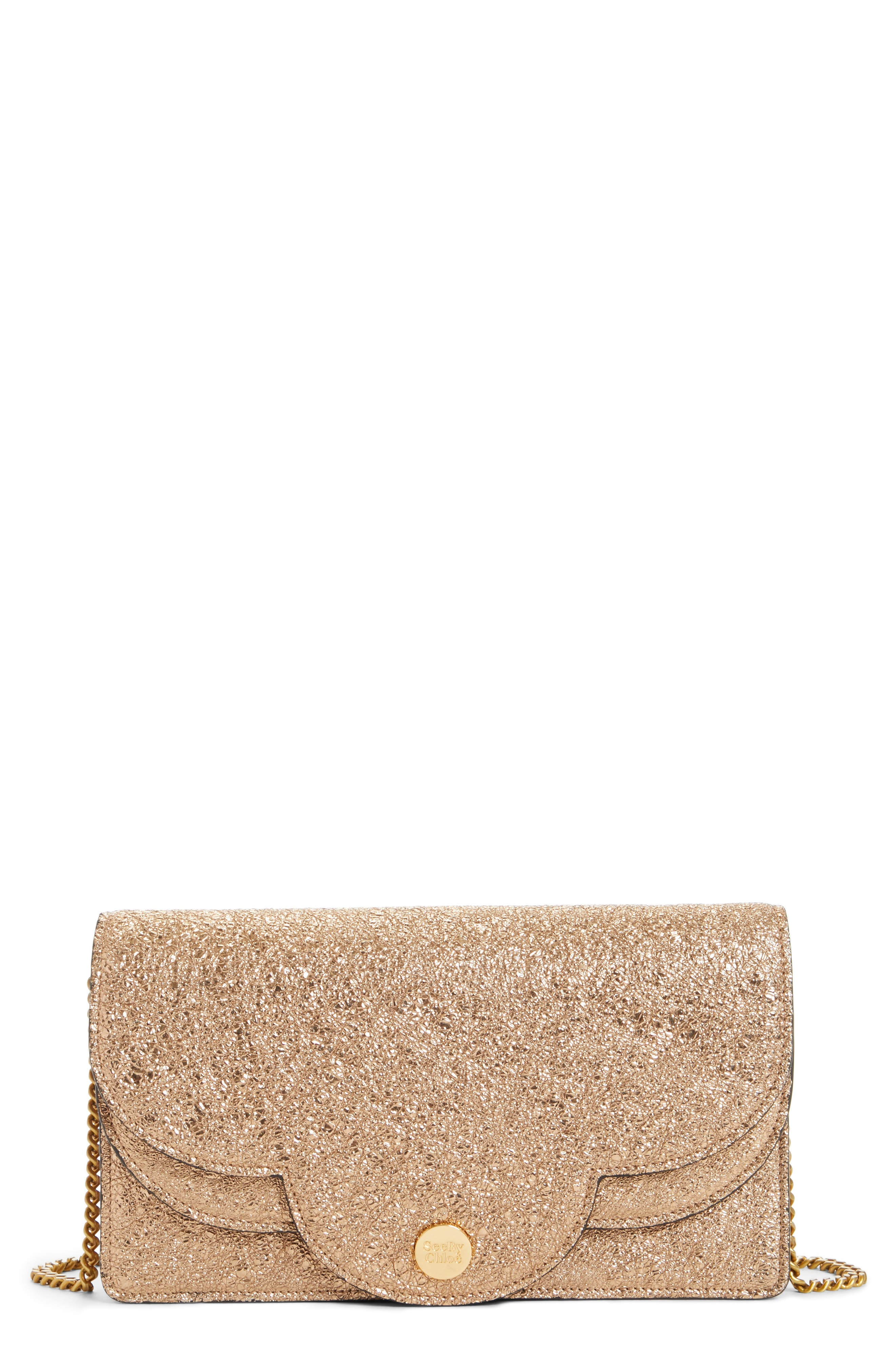 SEE BY CHLOÉ Polina Metallic Leather Crossbody Clutch, Main, color, 220