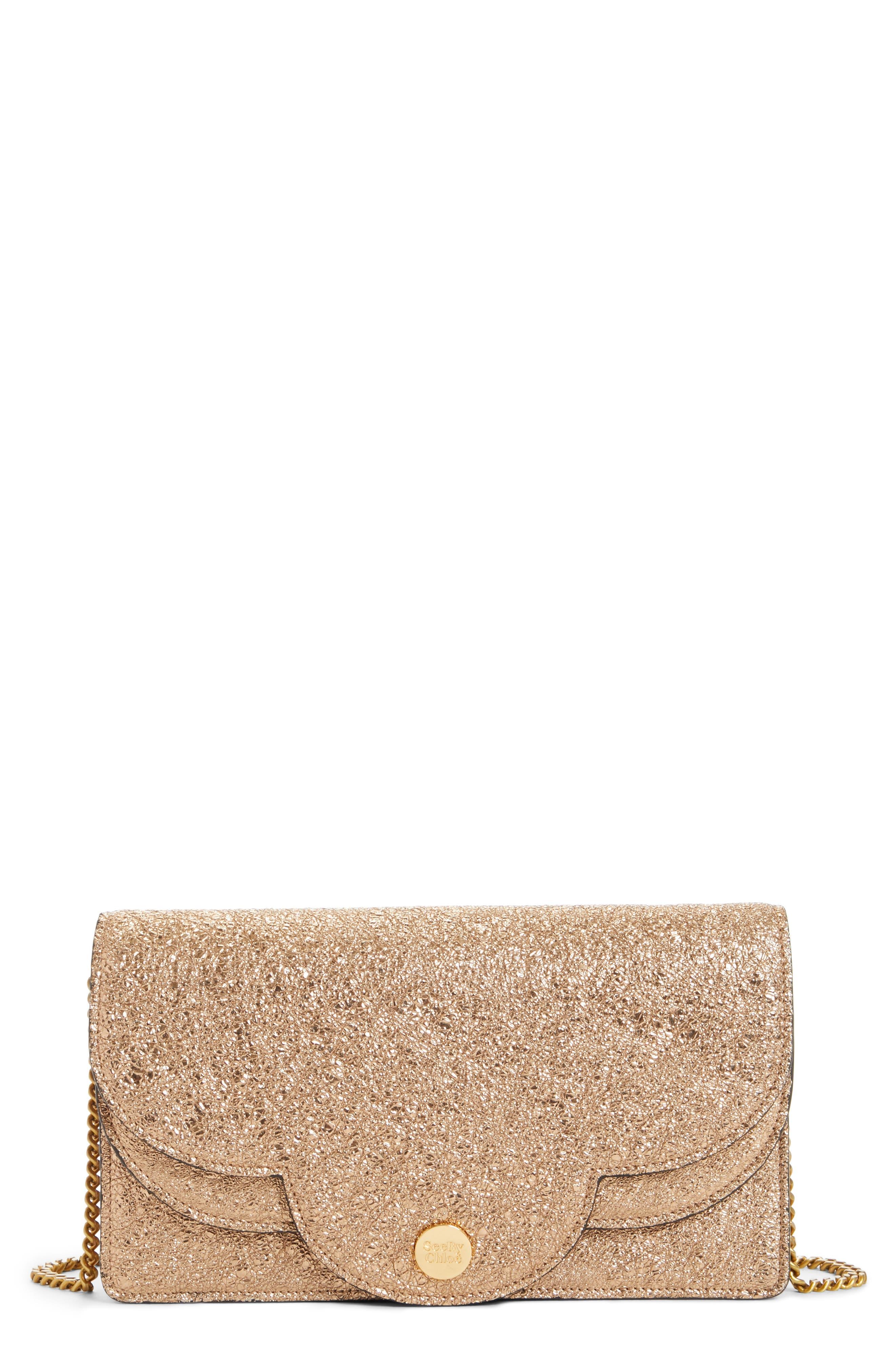 Polina Metallic Leather Crossbody Clutch,                         Main,                         color, 220