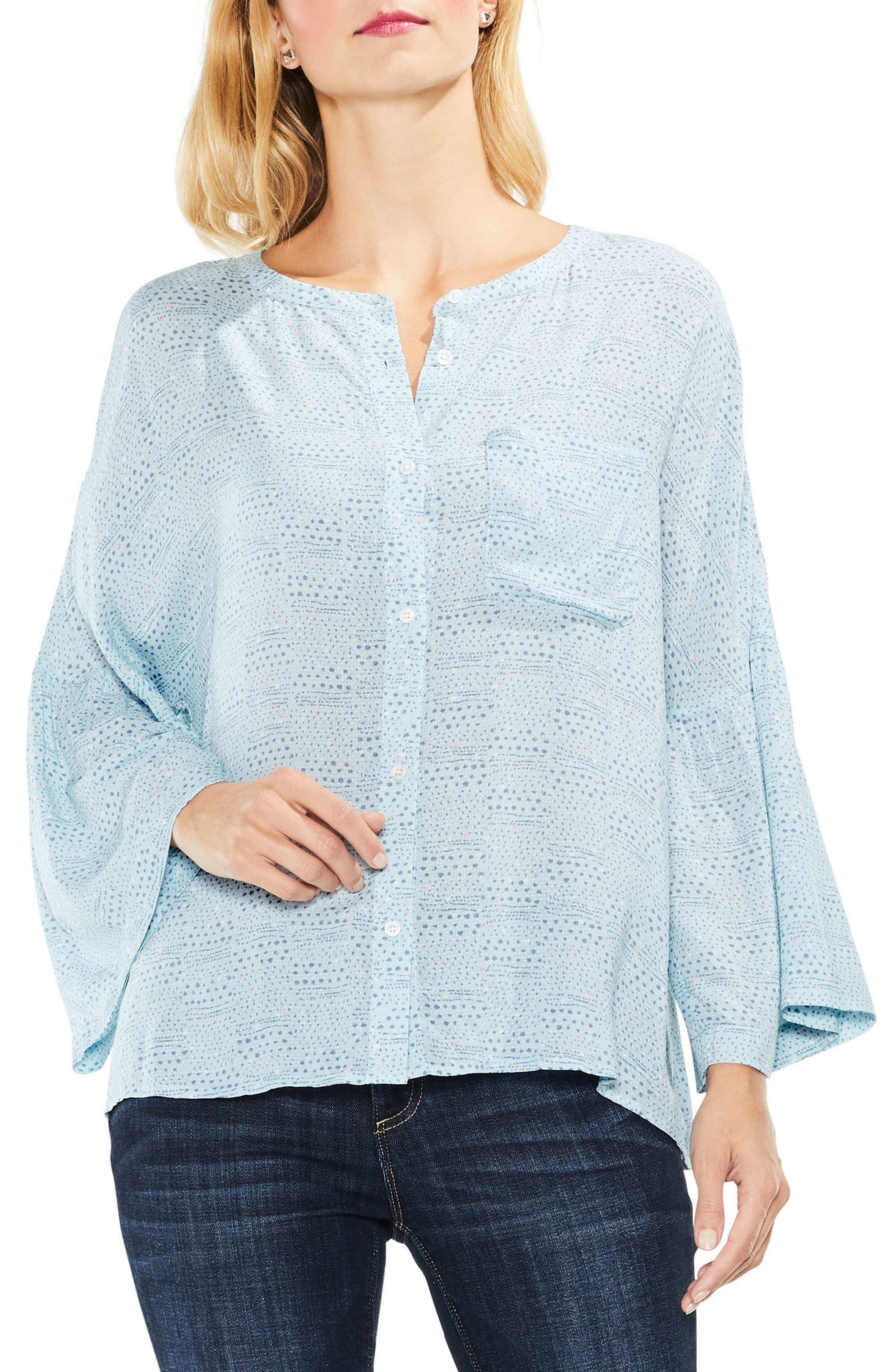 Two by Vince Camuto Bell Sleeve Geo Dialogue Top,                             Main thumbnail 2, color,