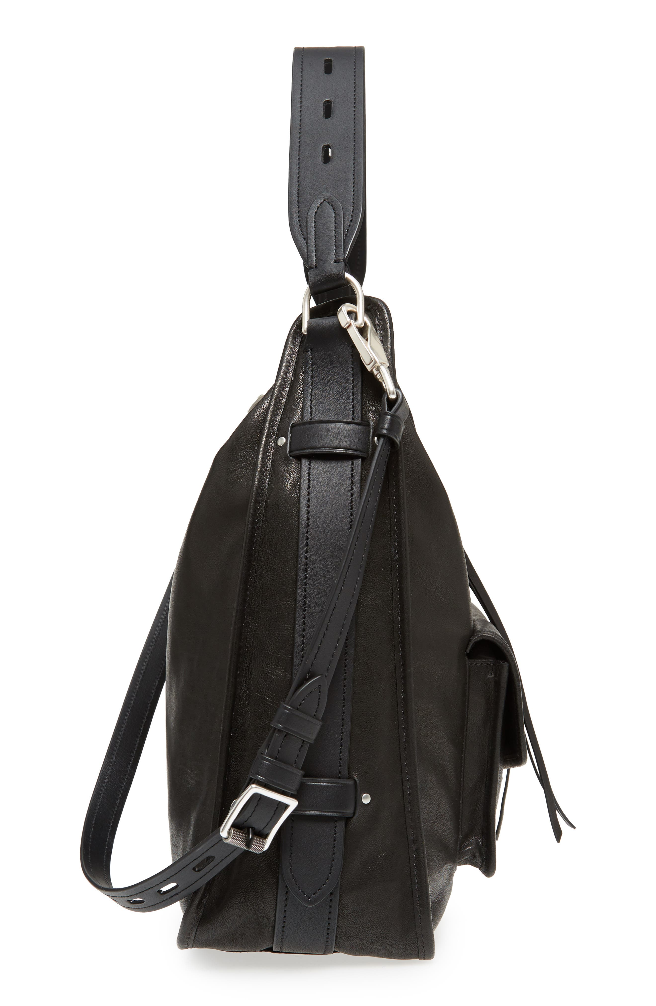 Field Leather Hobo,                             Alternate thumbnail 5, color,                             BLACK