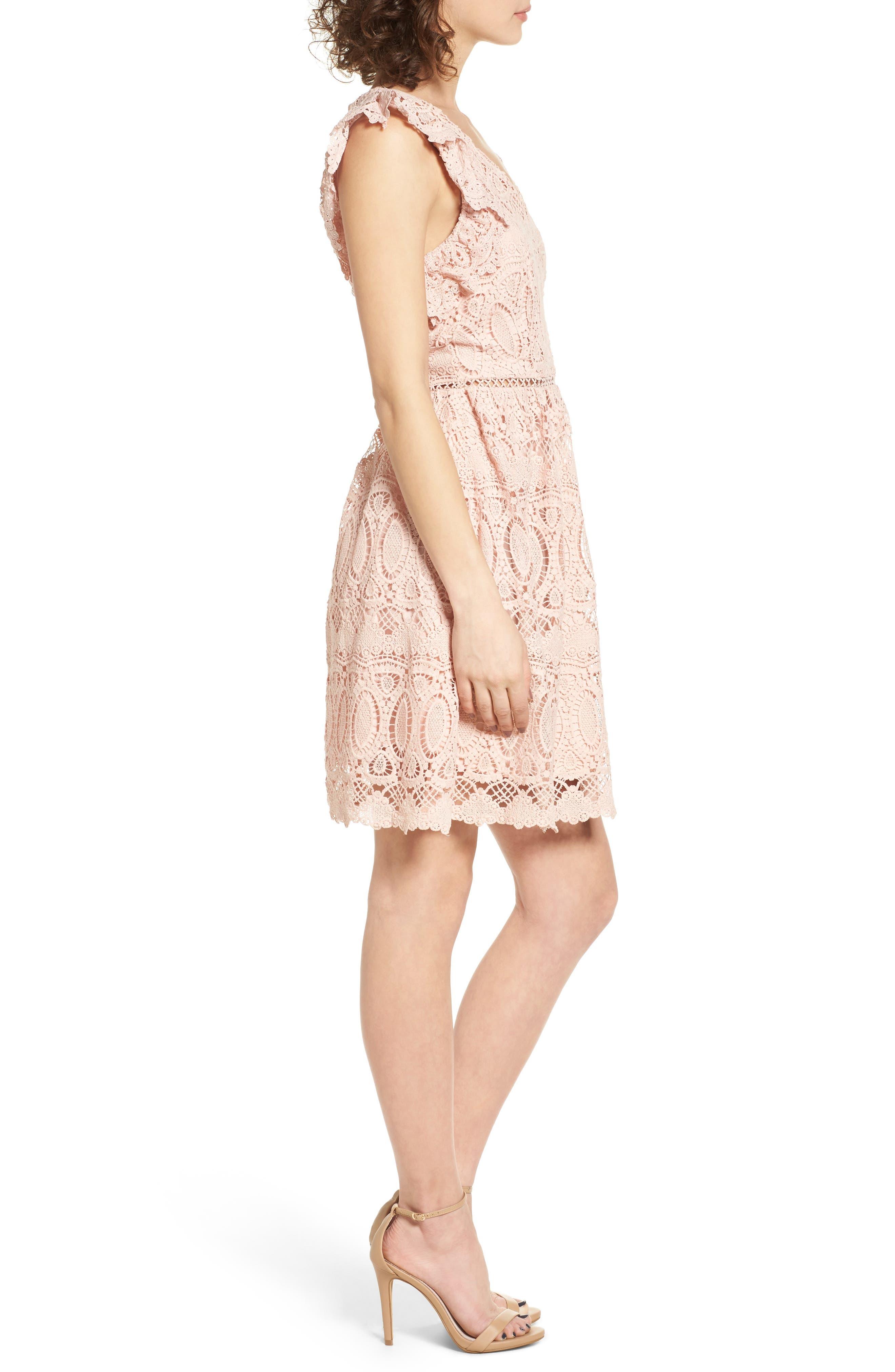 Lace Fit & Flare Dress,                             Alternate thumbnail 3, color,                             650