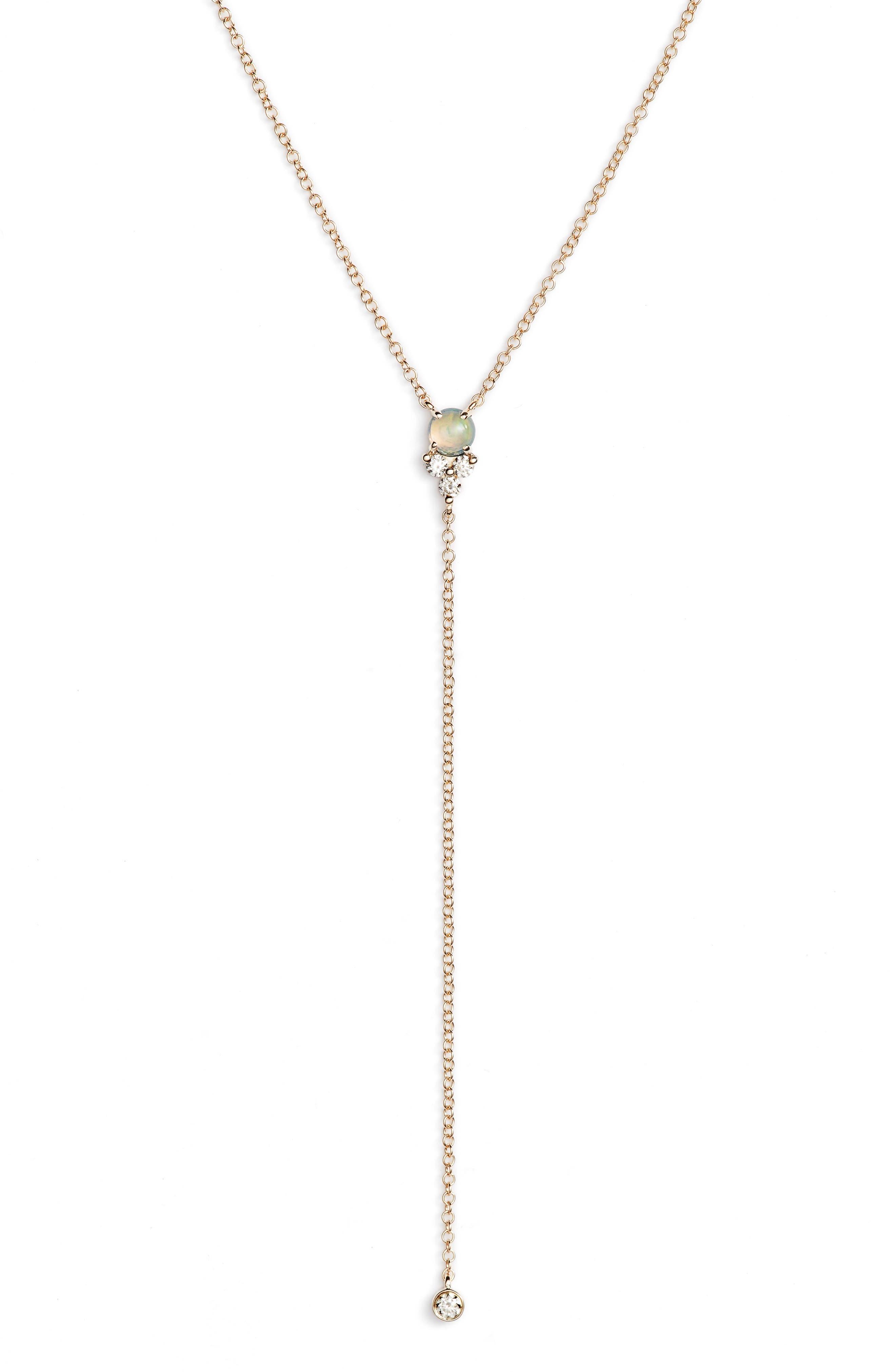 Diamond Trio Stone Lariat Necklace,                             Main thumbnail 1, color,                             YELLOW GOLD/ OPAL