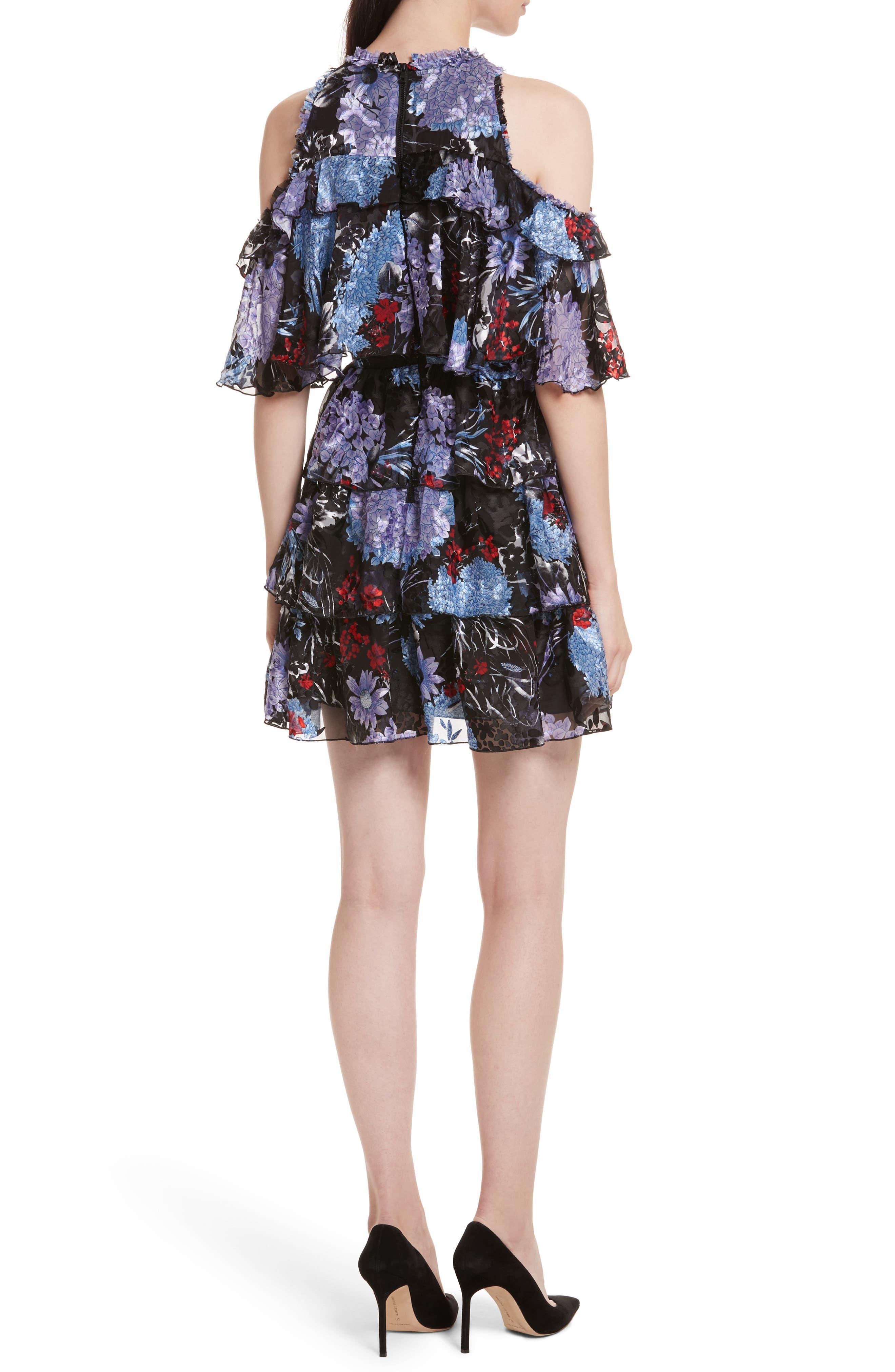 Nichola Cold Shoulder Floral Dress,                             Alternate thumbnail 2, color,                             560