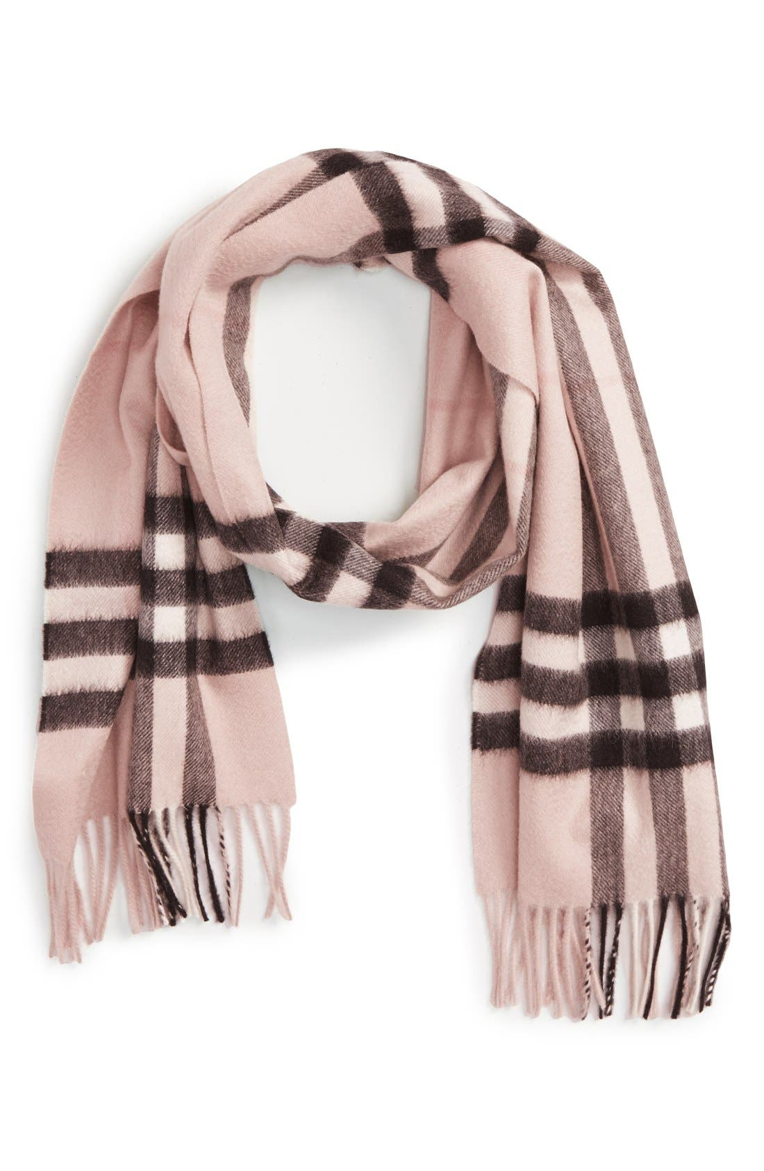 Heritage Giant Check Fringed Cashmere Muffler,                         Main,                         color, ASH ROSE
