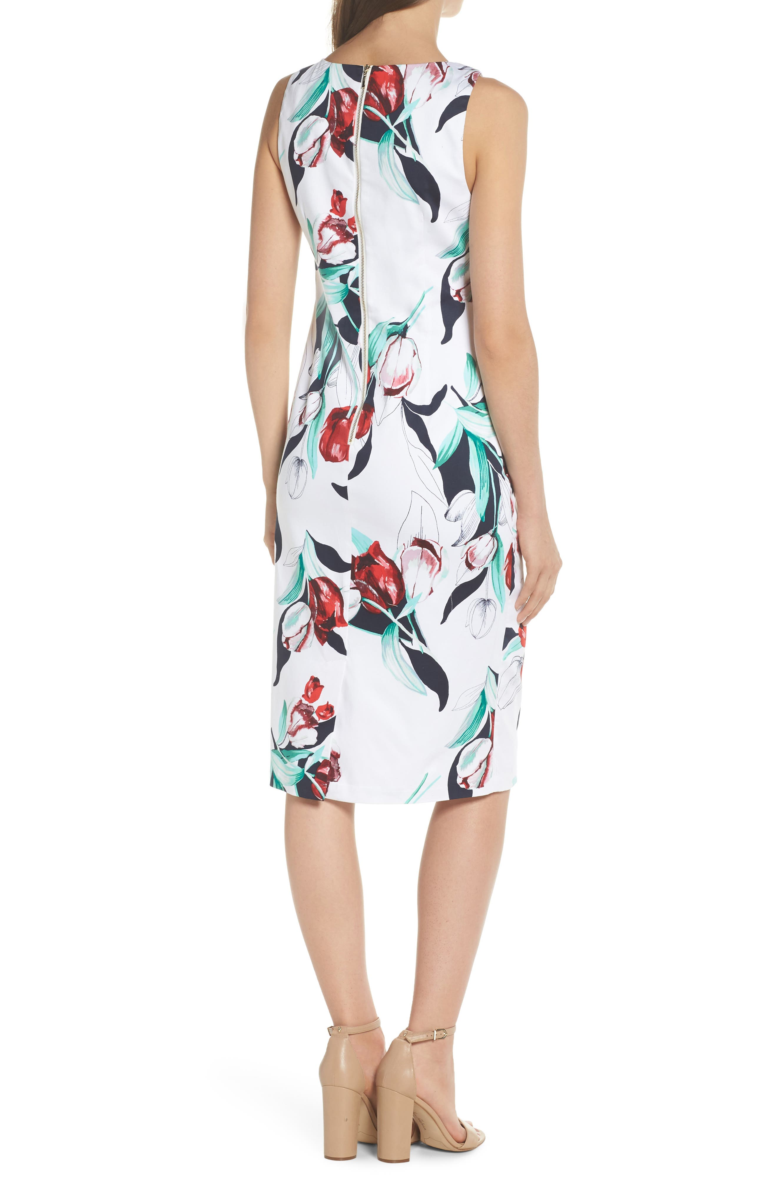 Dynasty Floral Print Stretch Sheath Dress,                             Alternate thumbnail 2, color,                             607