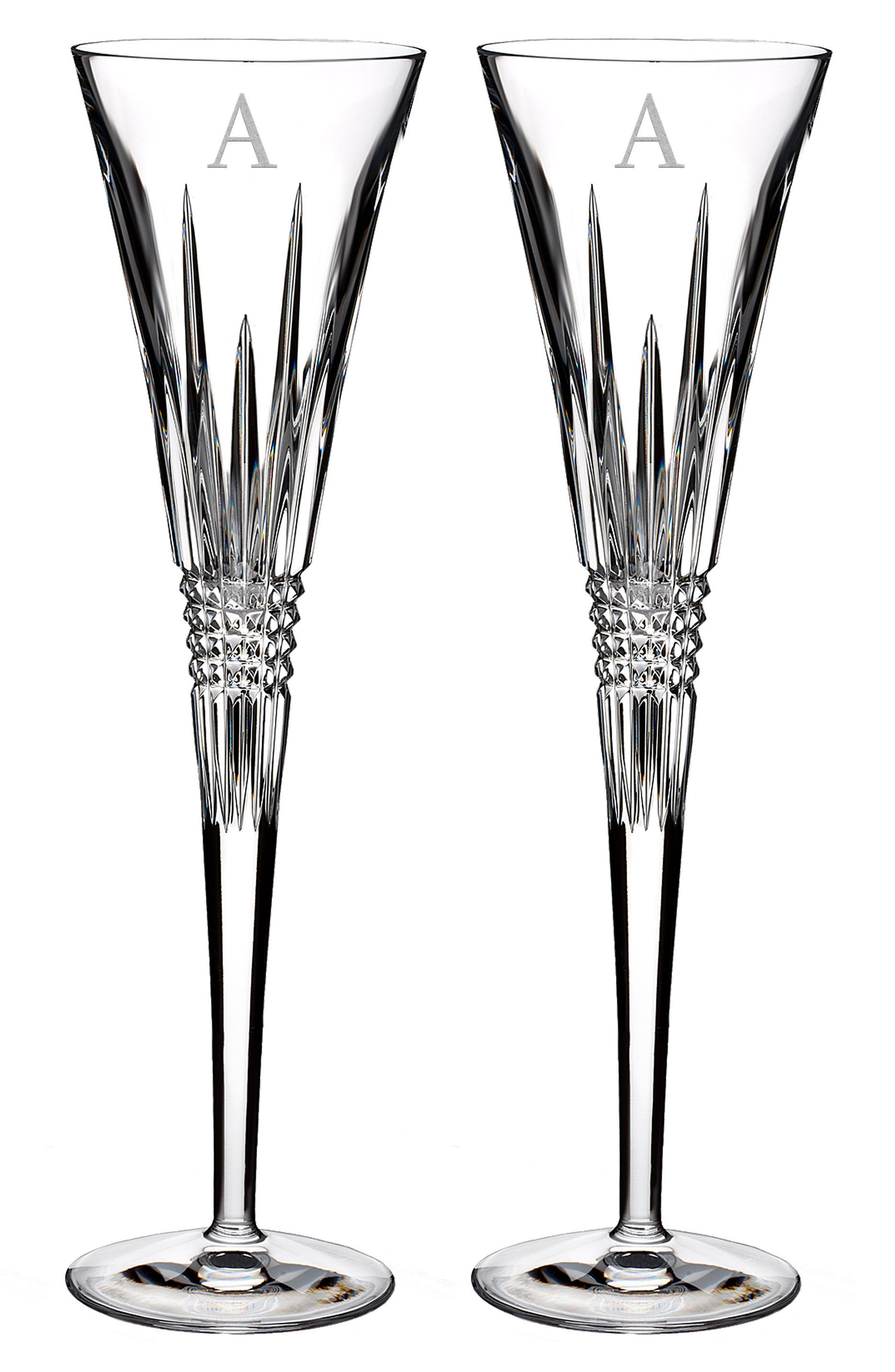 WATERFORD,                             Lismore Diamond Set of 2 Monogram Lead Crystal Champagne Flutes,                             Main thumbnail 1, color,                             CLEAR - A