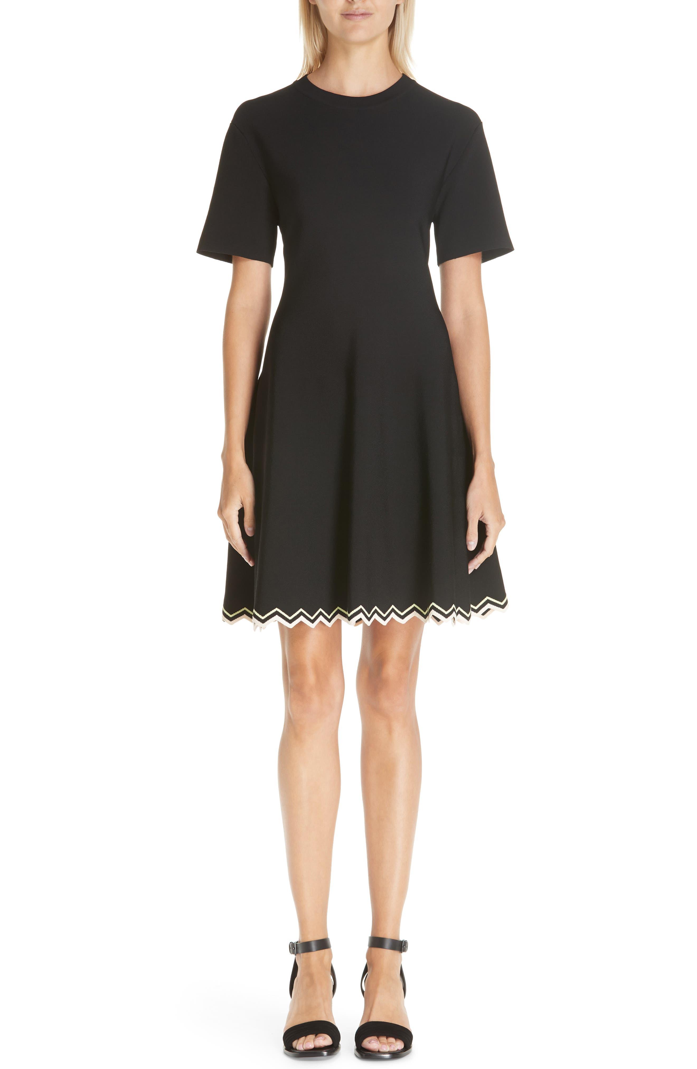 Chevron Hem A-Line Dress, Main, color, 10225 BLACK COMBO