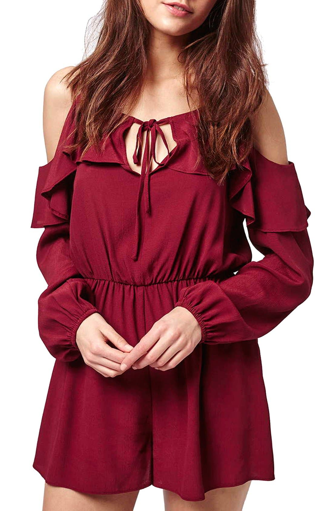 Ruffled Cold Shoulder Romper,                             Main thumbnail 1, color,