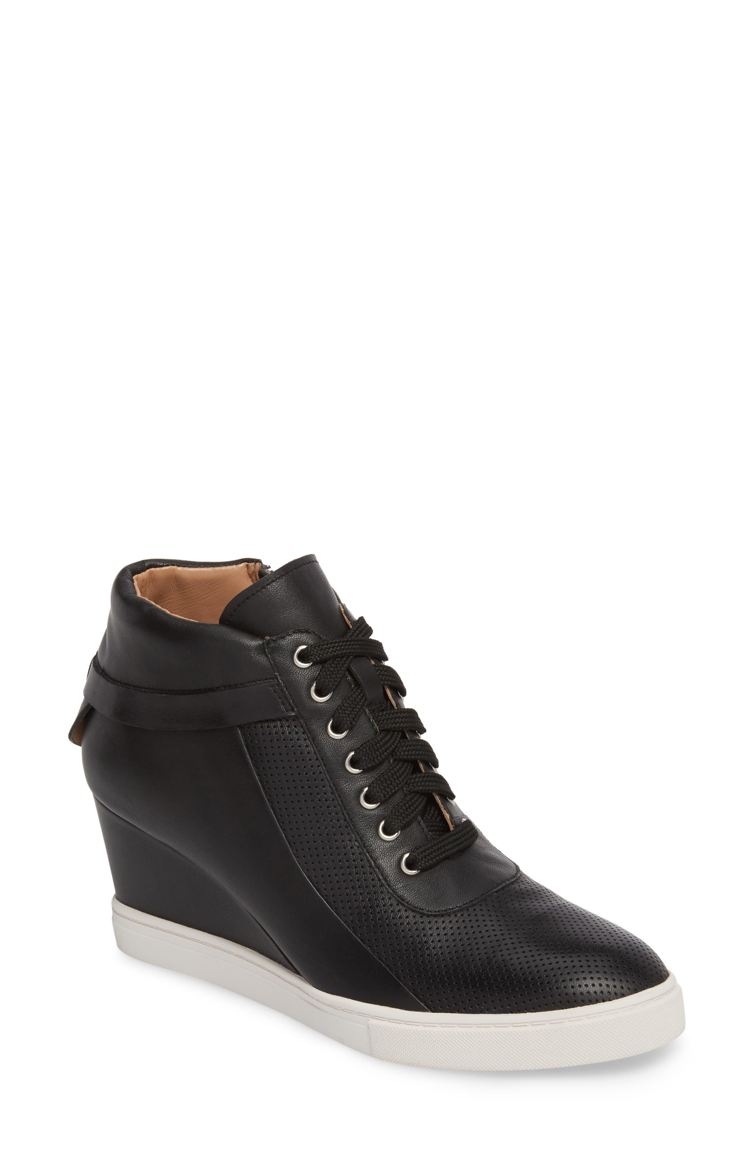 Freja Wedge Sneaker,                         Main,                         color, BLACK LEATHER