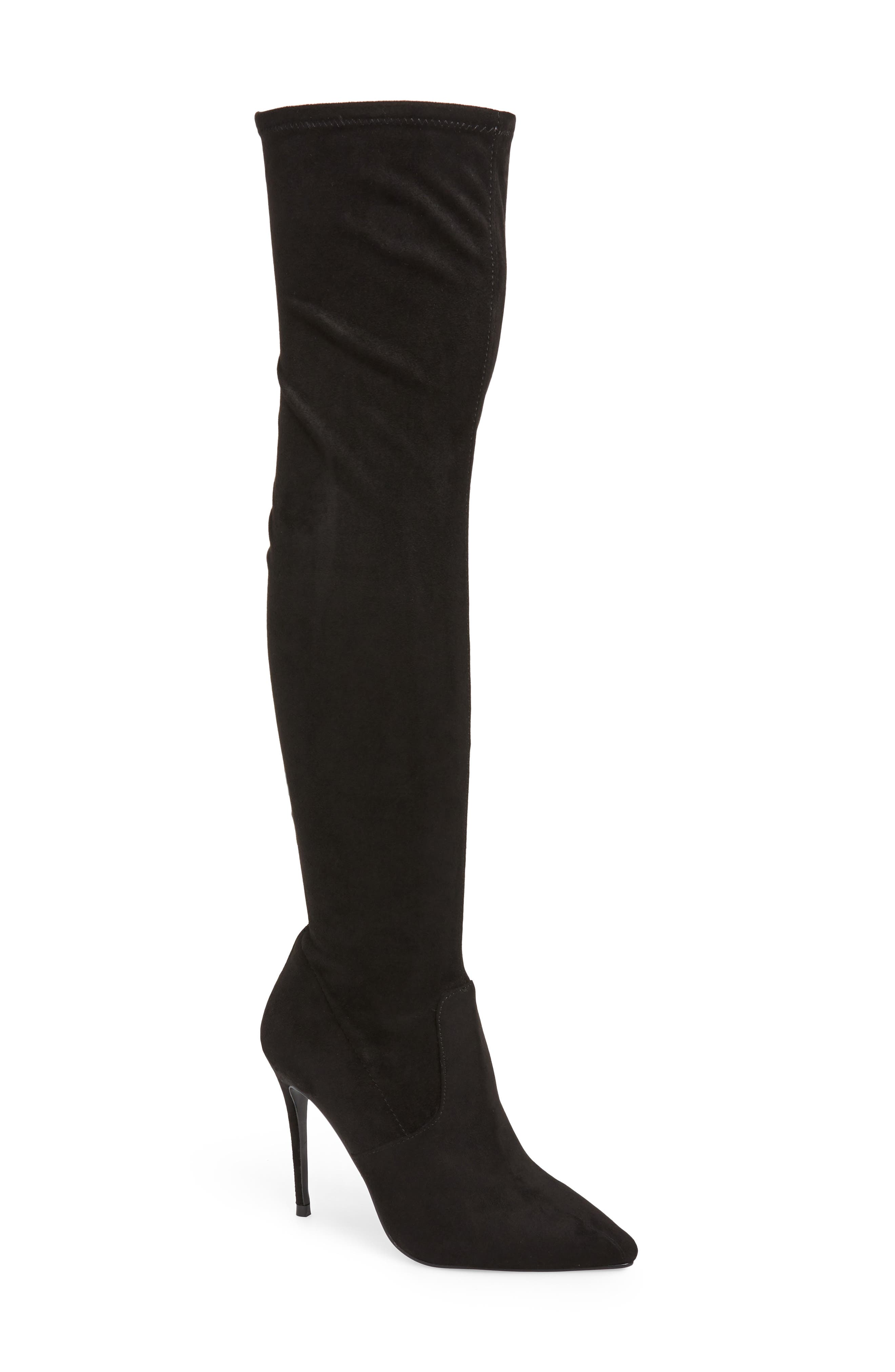 Devine Over the Knee Boot,                             Main thumbnail 1, color,                             BLACK SUEDE