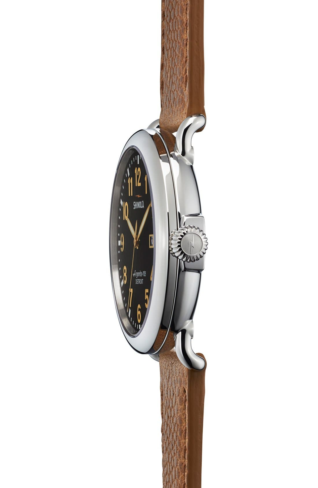 'Runwell' Leather Strap Watch, 41mm,                             Alternate thumbnail 4, color,                             TAN/ BLACK