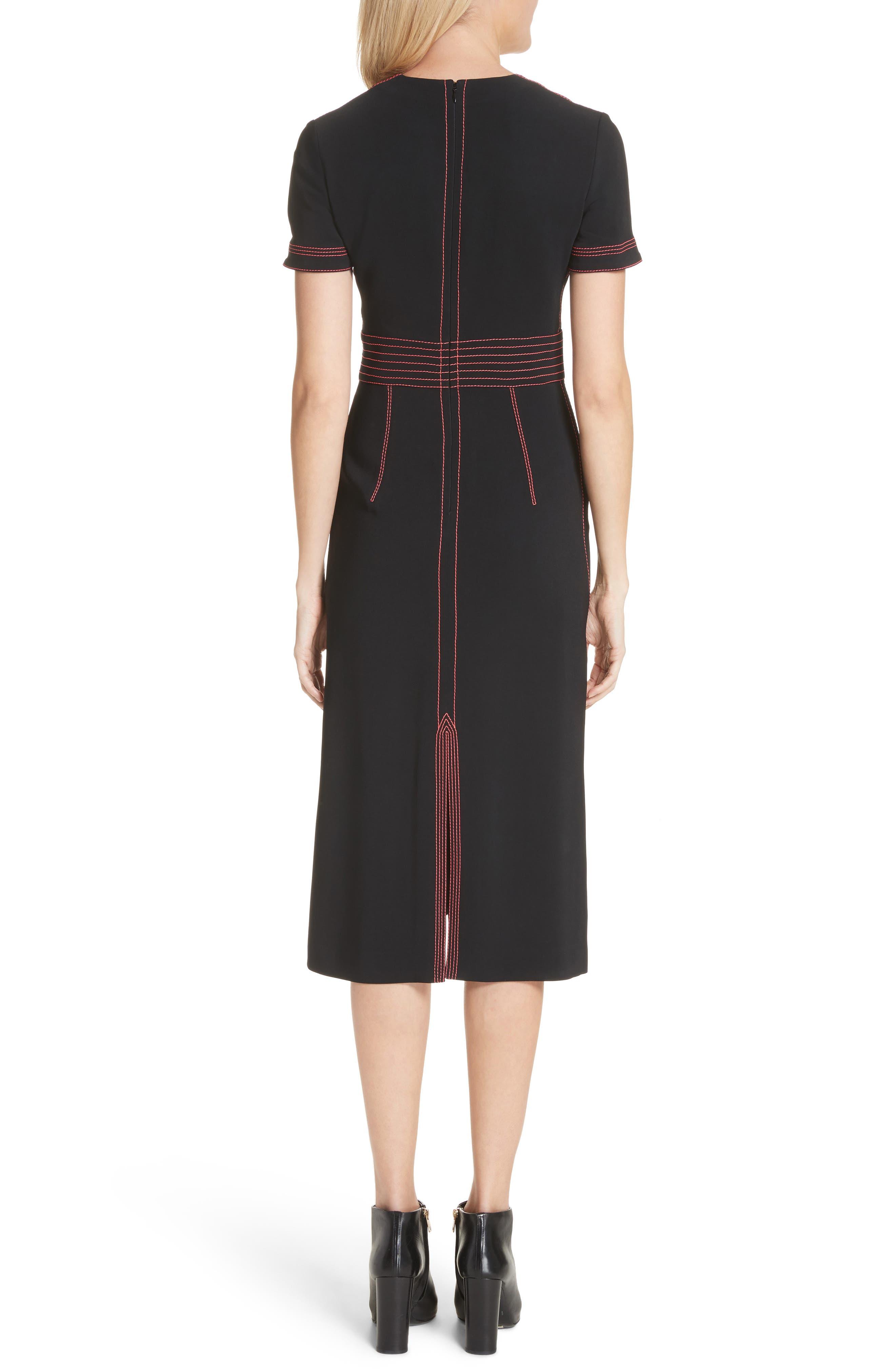 Benni Topstitched Midi Dress,                             Alternate thumbnail 2, color,                             001