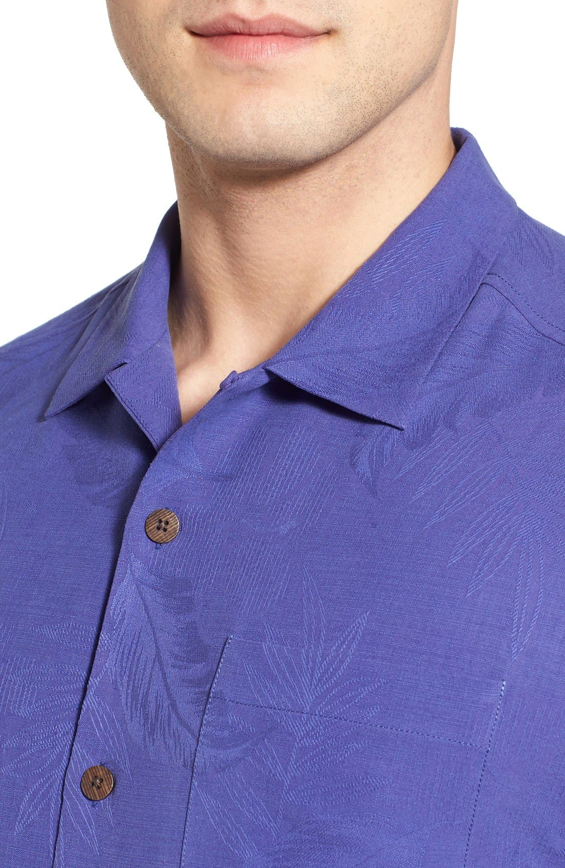 Rio Fronds Short Sleeve Silk Sport Shirt,                             Alternate thumbnail 59, color,