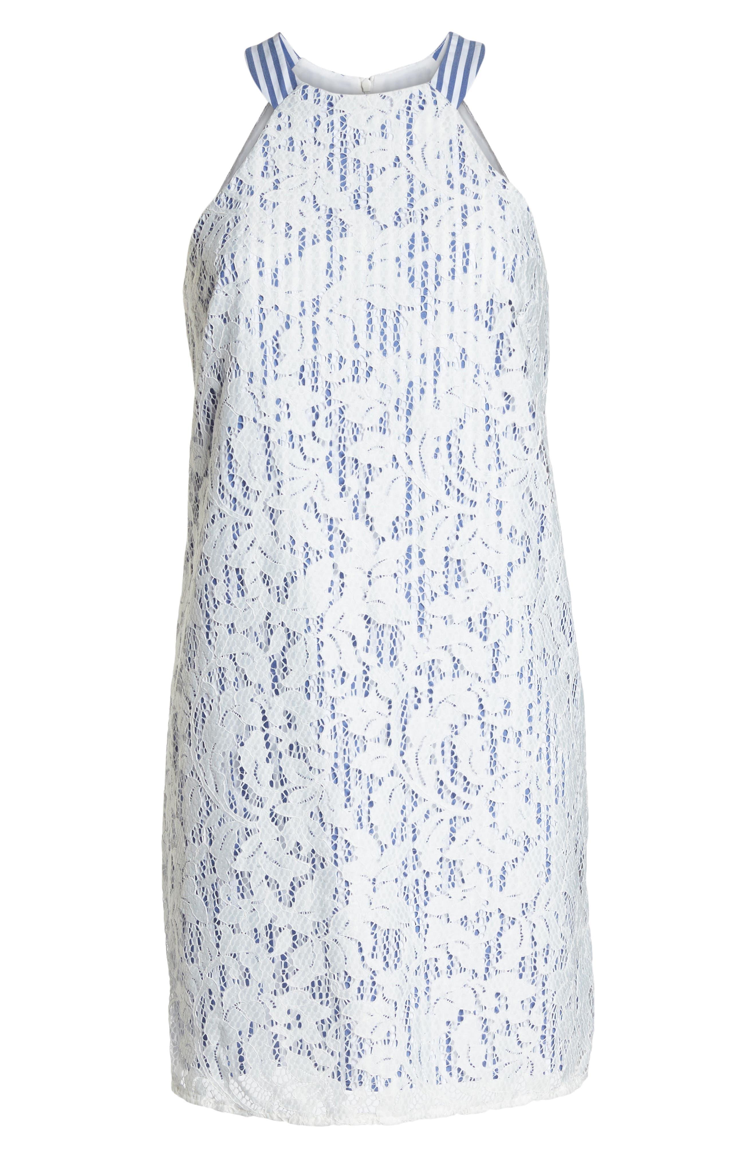 Pinstripe Lace Overlay Shift Dress,                             Alternate thumbnail 7, color,                             WHITE/ BLUE