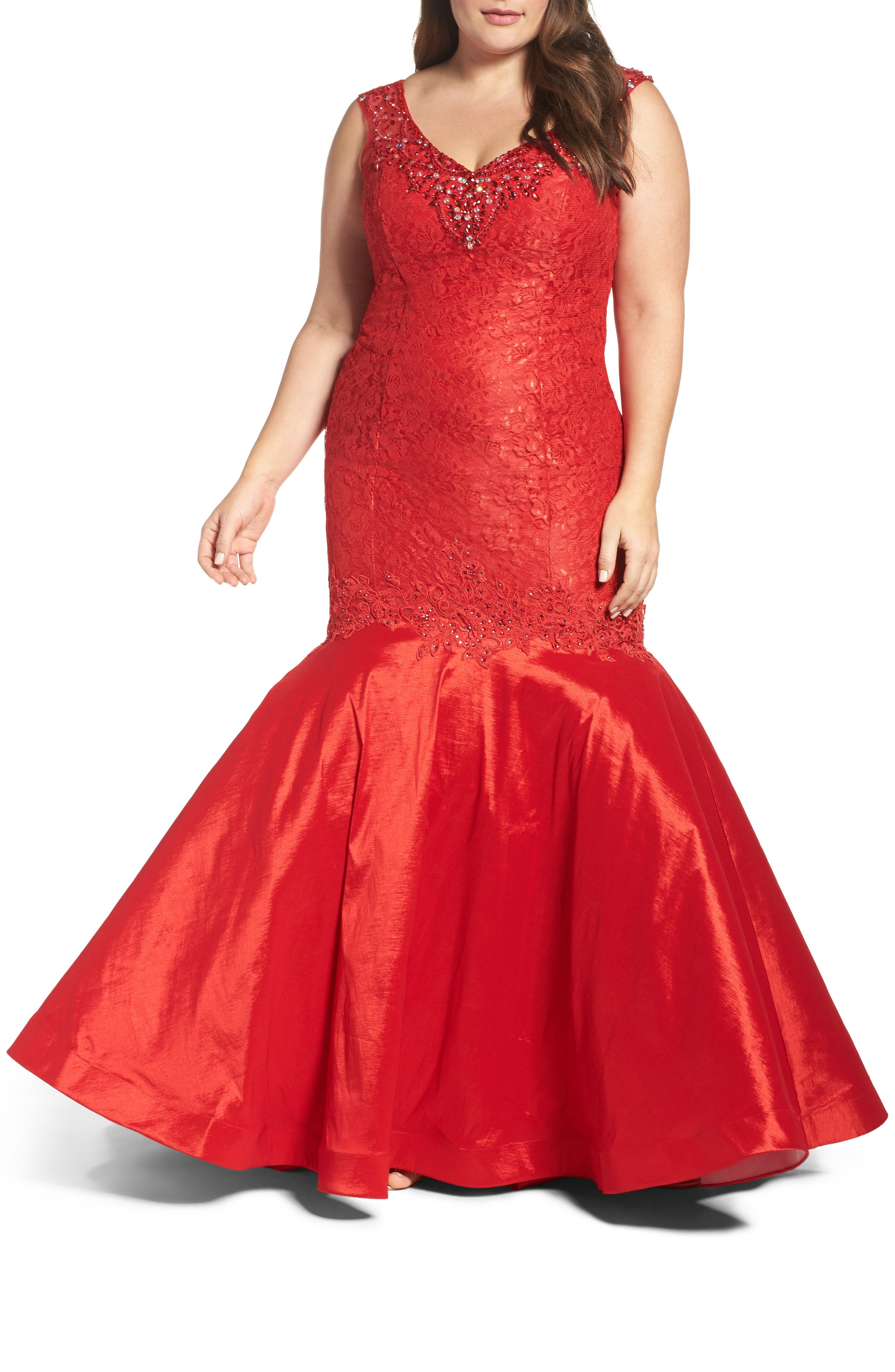 Embellished Lace & Taffeta Mermaid Gown,                             Main thumbnail 1, color,                             RED