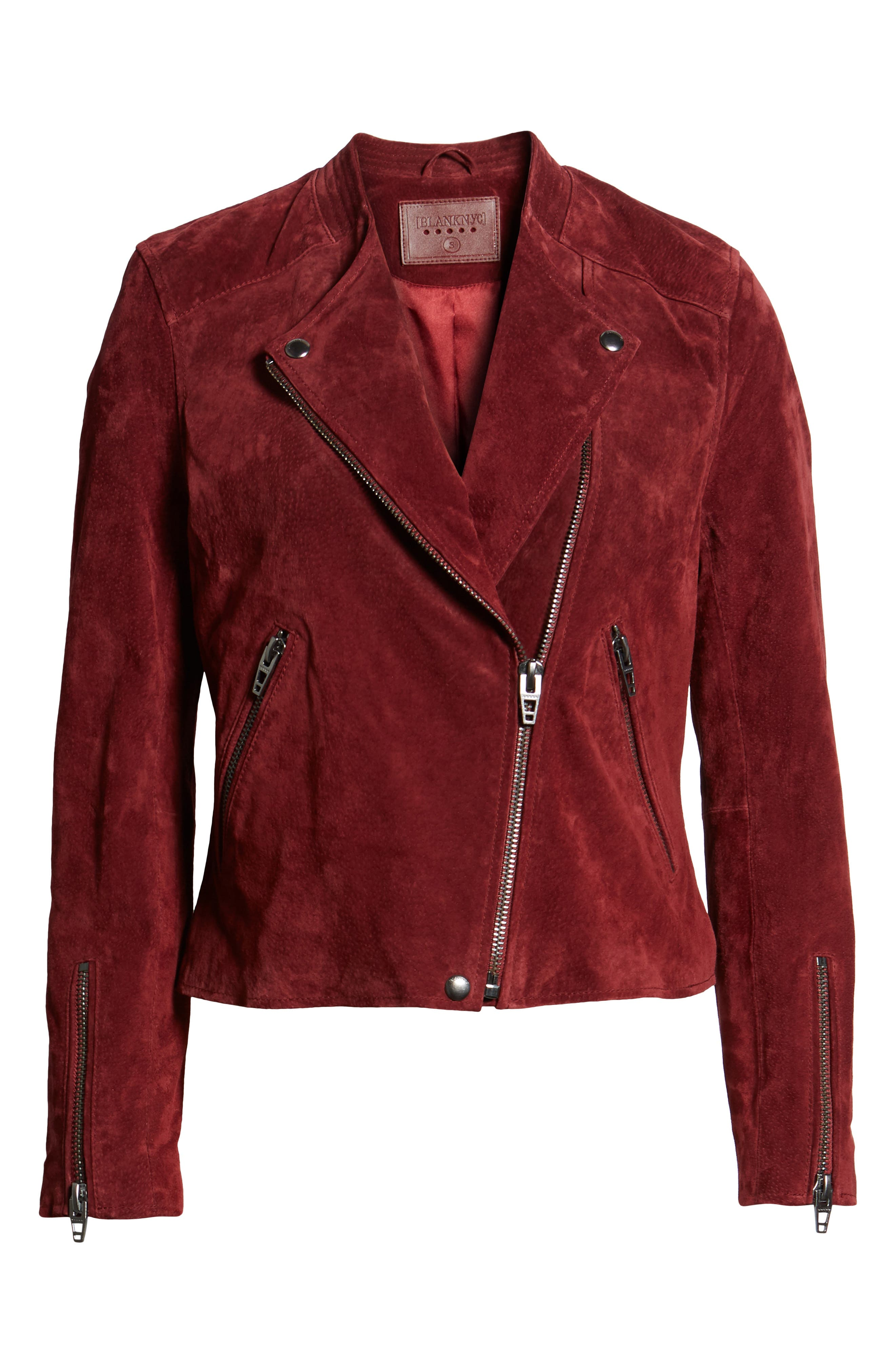 BLANKNYC,                             No Limit Suede Moto Jacket,                             Alternate thumbnail 6, color,                             RUBY