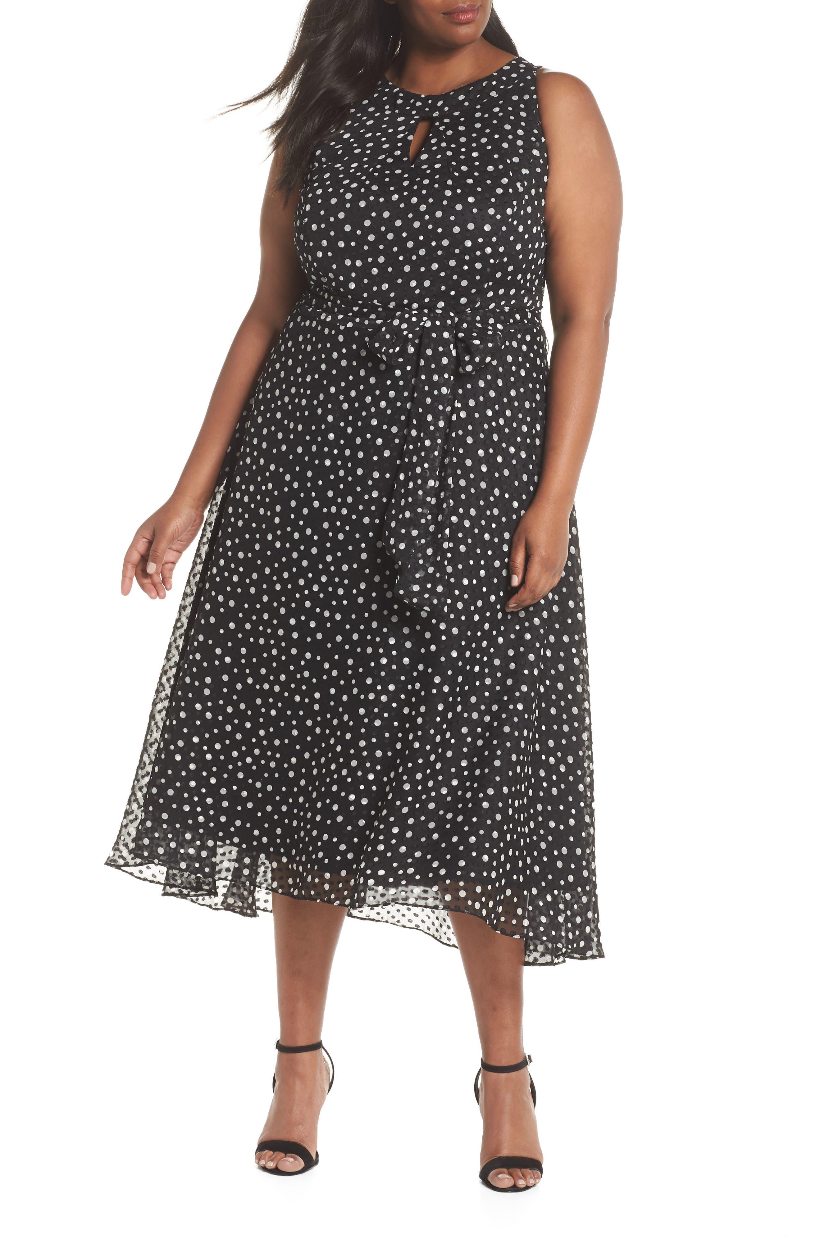 Polka Dot Keyhole Chiffon Dress,                             Main thumbnail 1, color,                             003