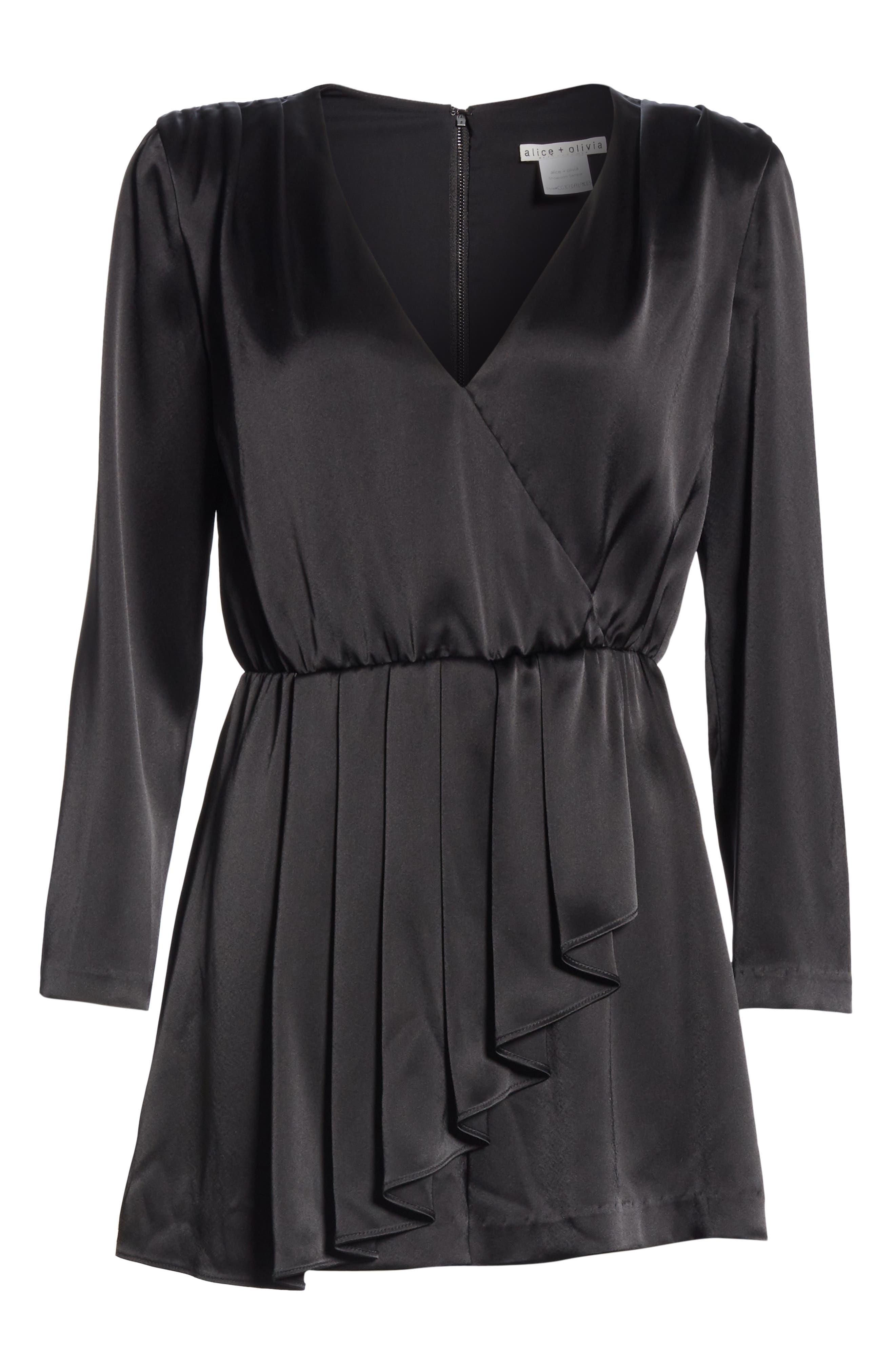 Faux Wrap Minidress,                             Alternate thumbnail 6, color,                             BLACK