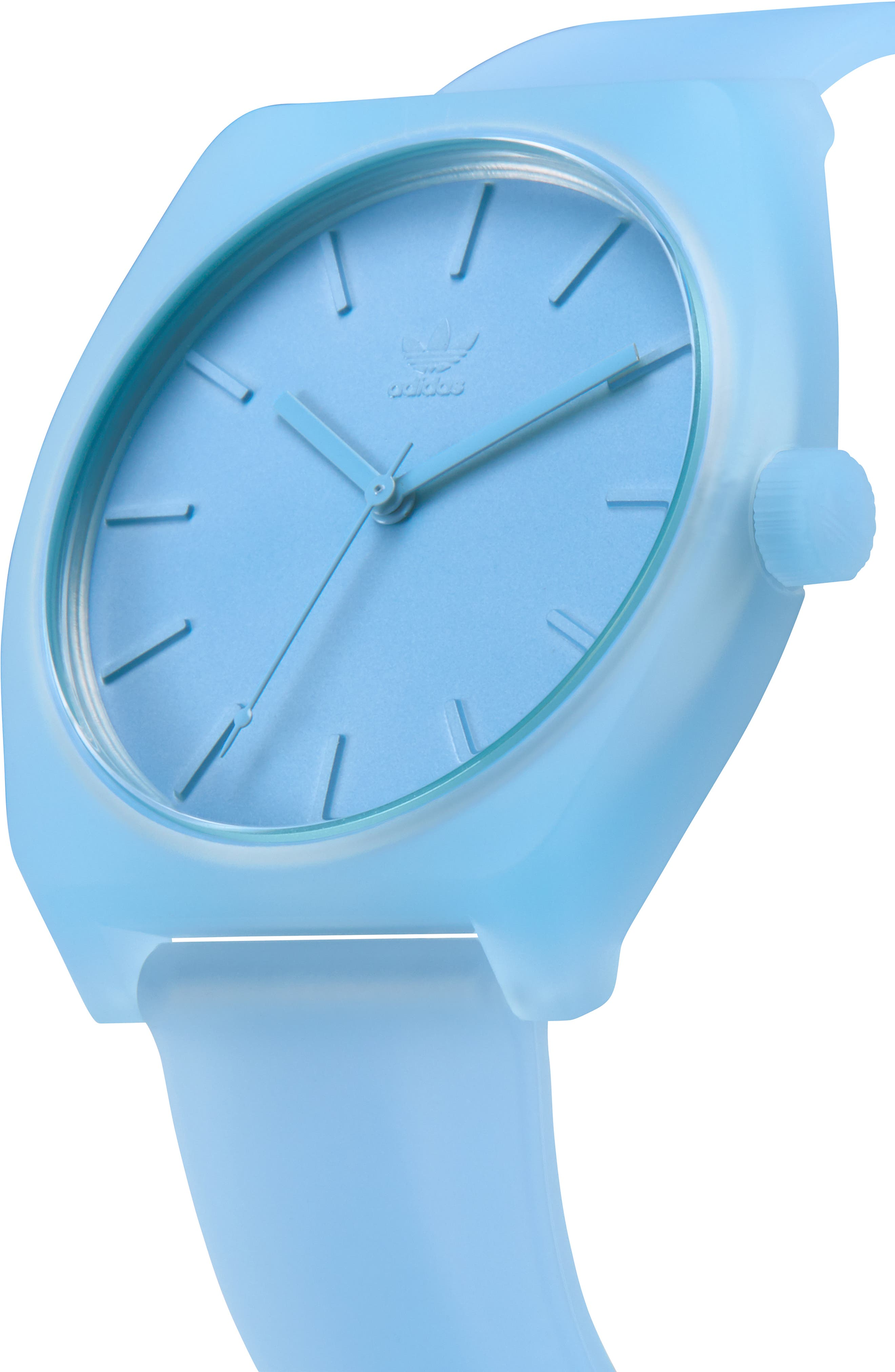Process Silicone Strap Watch, 38mm,                             Alternate thumbnail 4, color,                             CLEAR BLUE