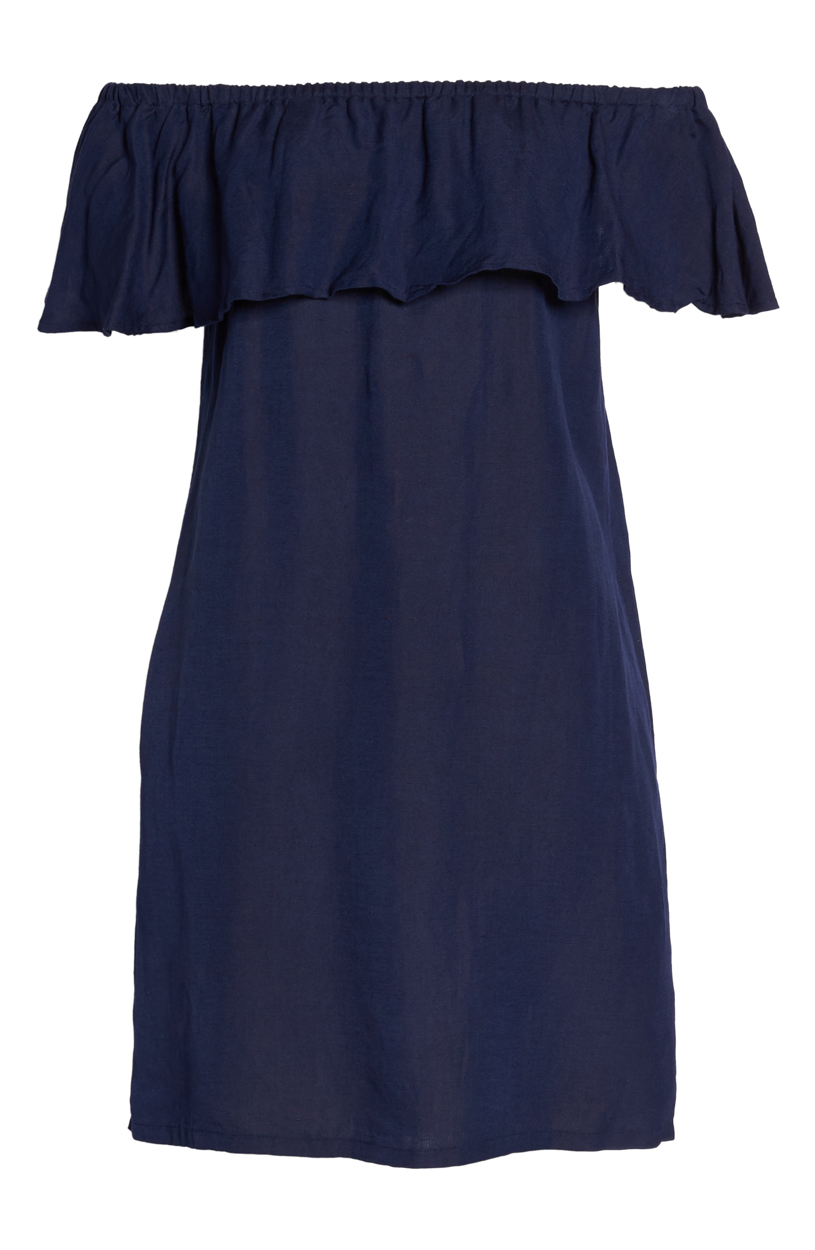 Off the Shoulder Cover-Up Dress,                             Alternate thumbnail 6, color,                             MARE BLUE