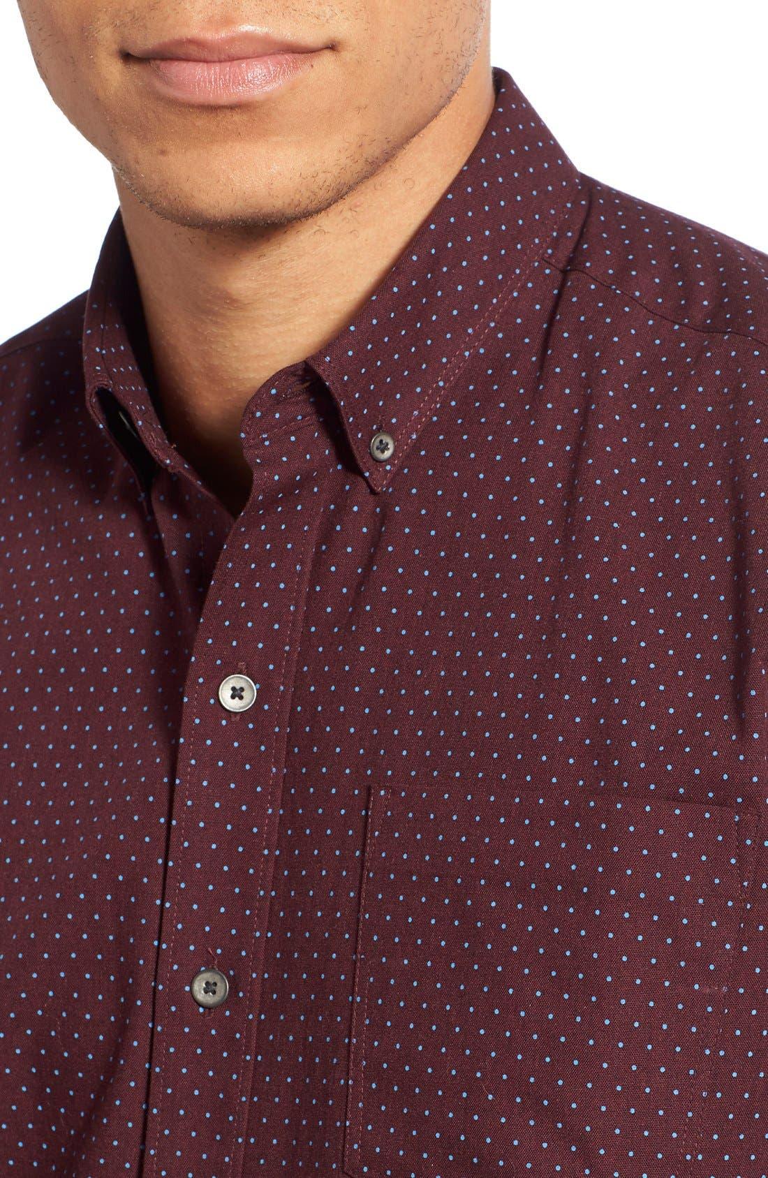 'Reworkd' Trim Fit Dot Print Mixed Media Sport Shirt,                             Alternate thumbnail 8, color,