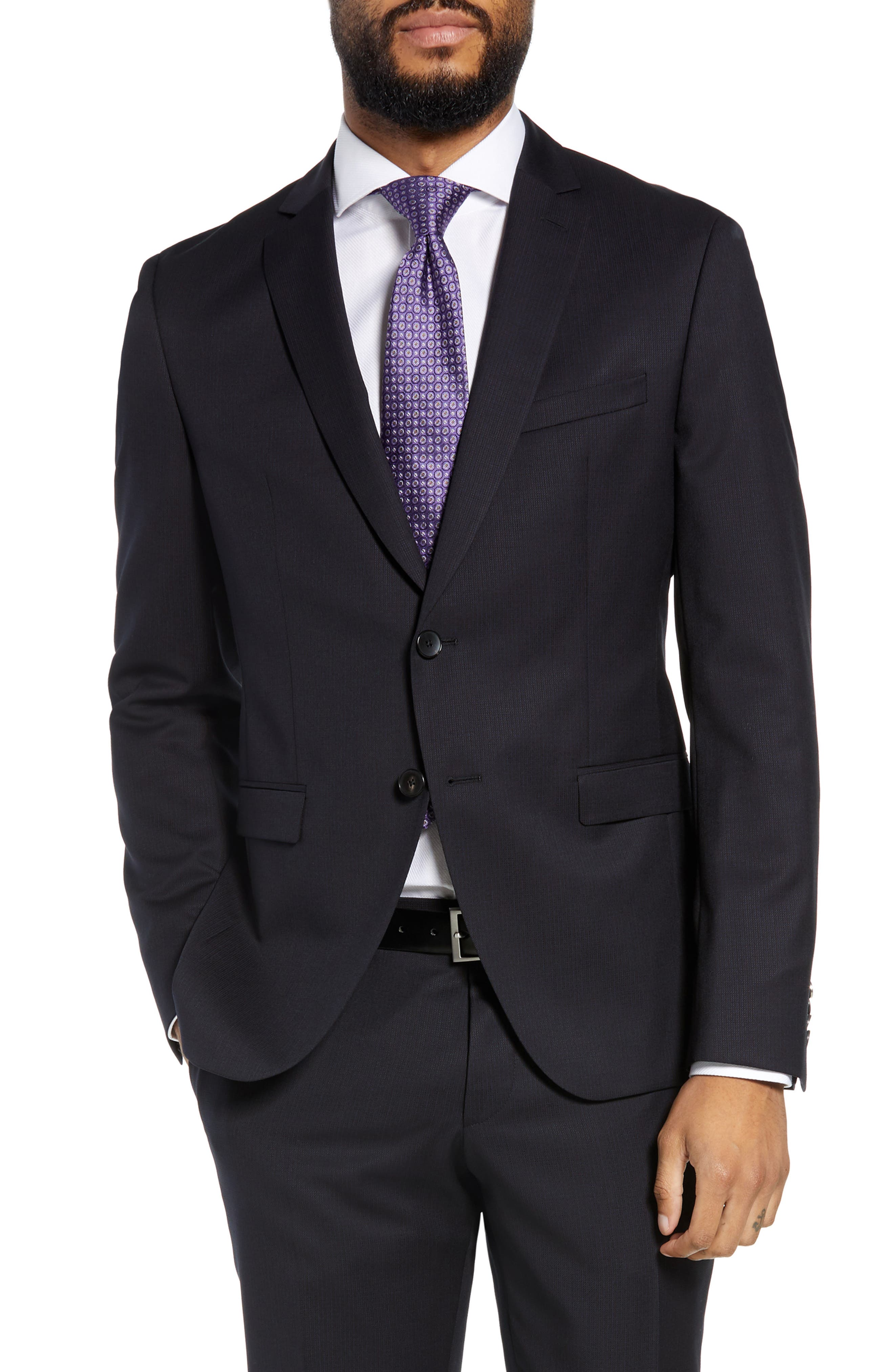Reymond/Wenten Extra Trim Fit Solid Wool Suit,                             Alternate thumbnail 5, color,                             DARK PURPLE