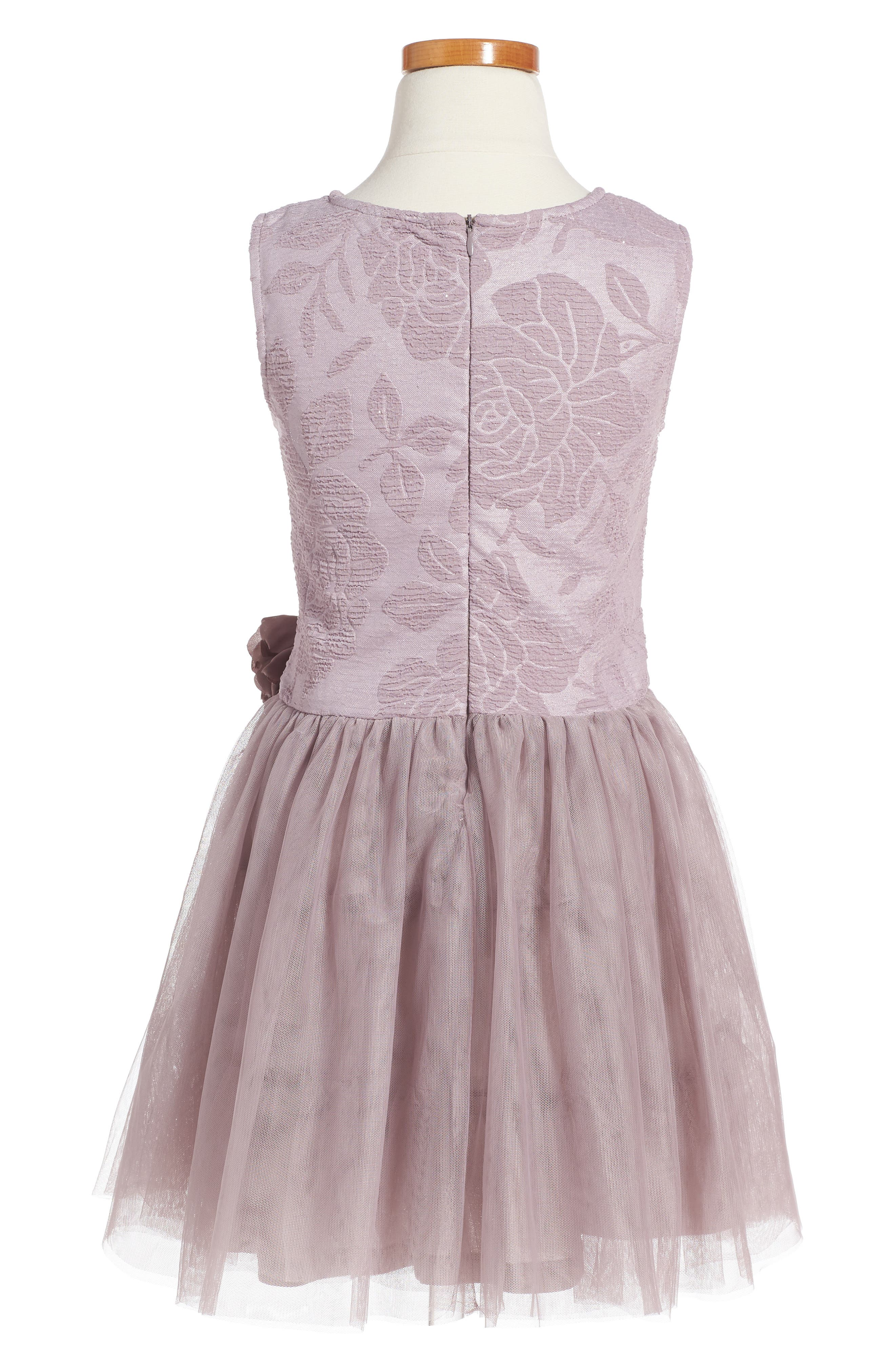 Embossed Rose Tutu Dress,                             Alternate thumbnail 2, color,                             690