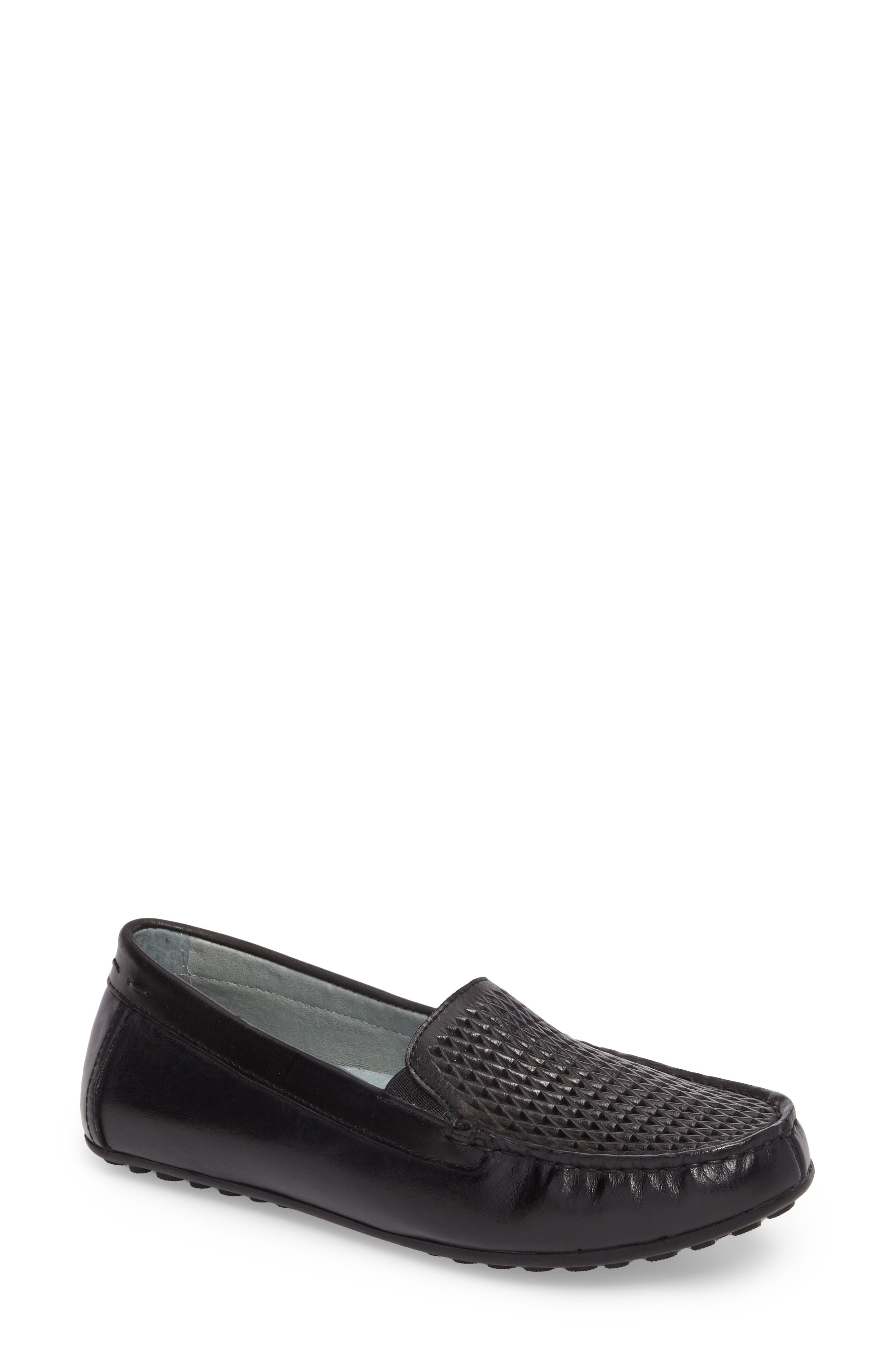 DAVID TATE Posh Driving Loafer, Main, color, BLACK LEATHER