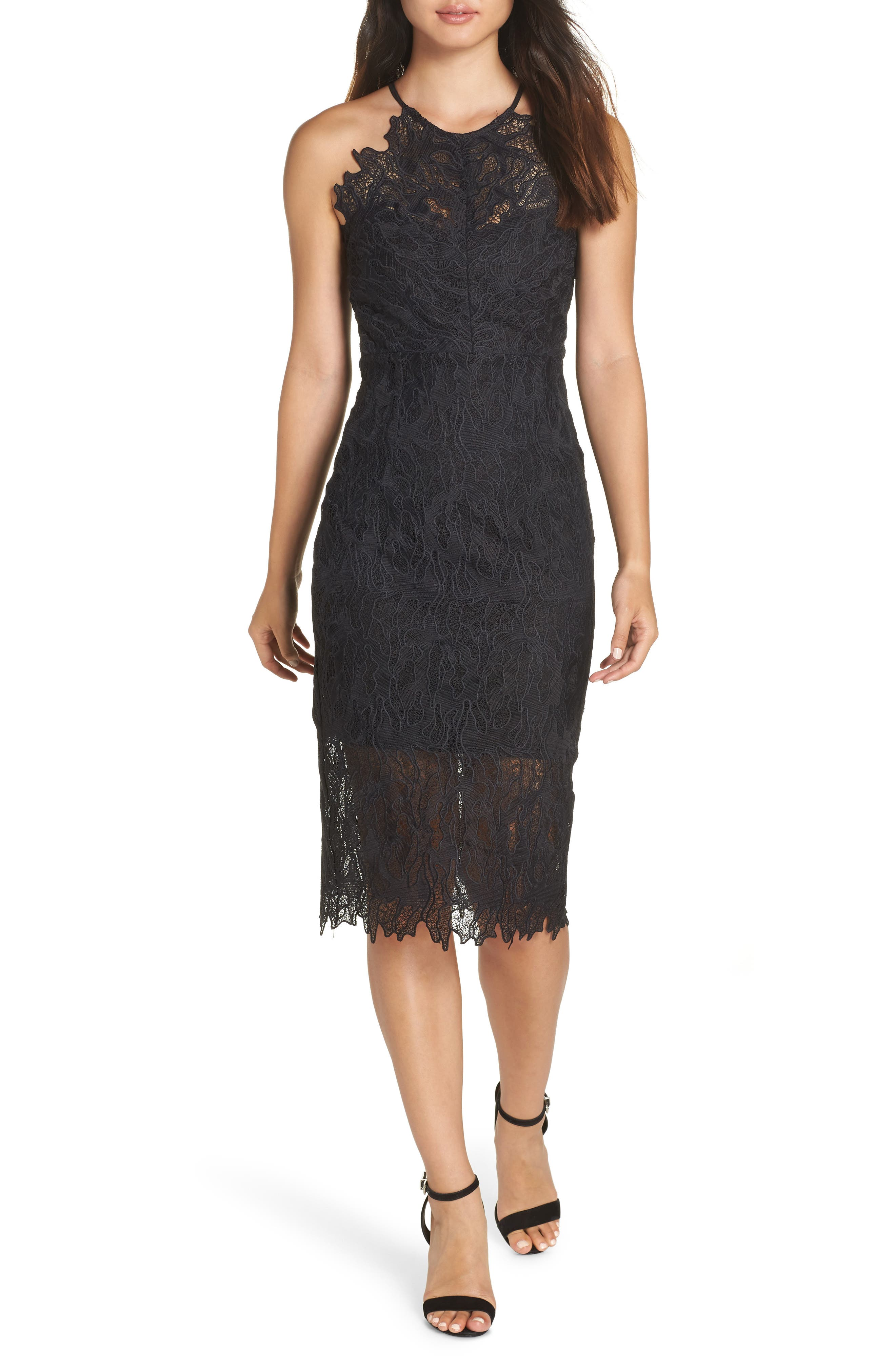 Bardot Embroidered Lace Dress, Black