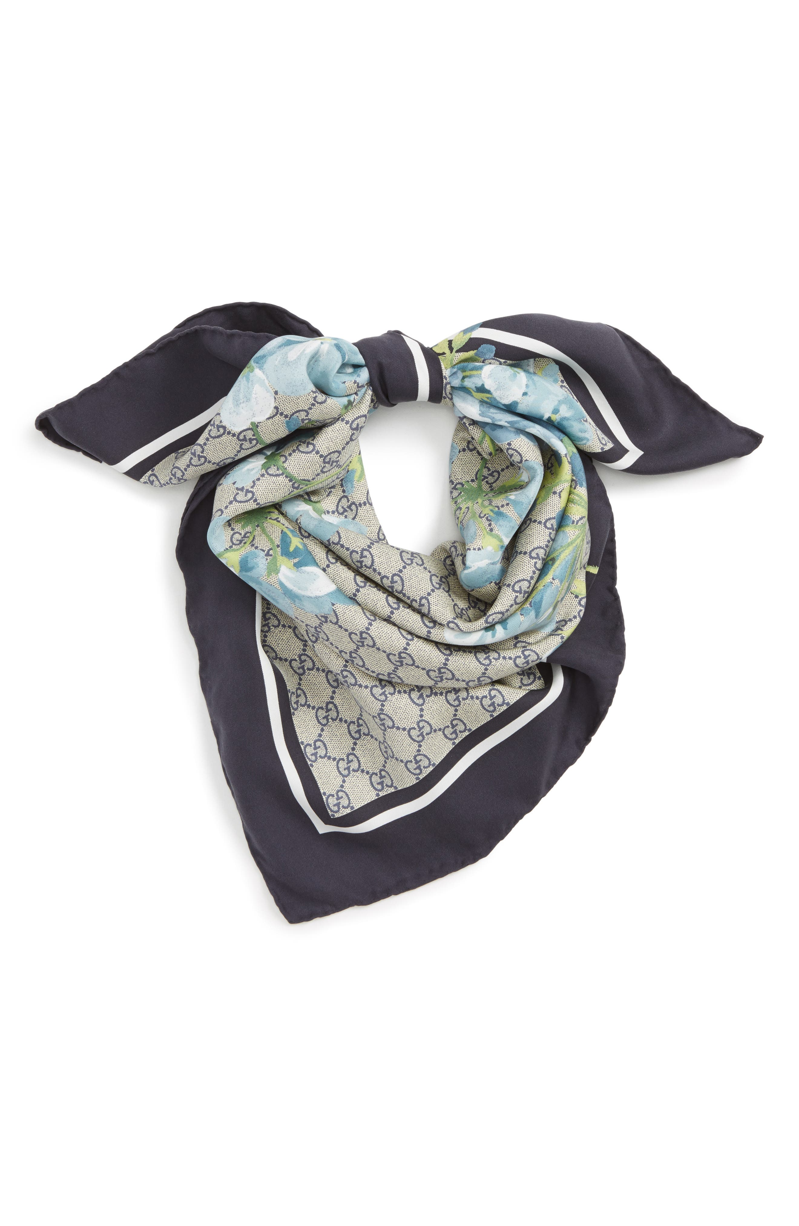 GG Blooms Foulard Scarf,                         Main,                         color, MIDNIGHT BLUE/SKY BLUE