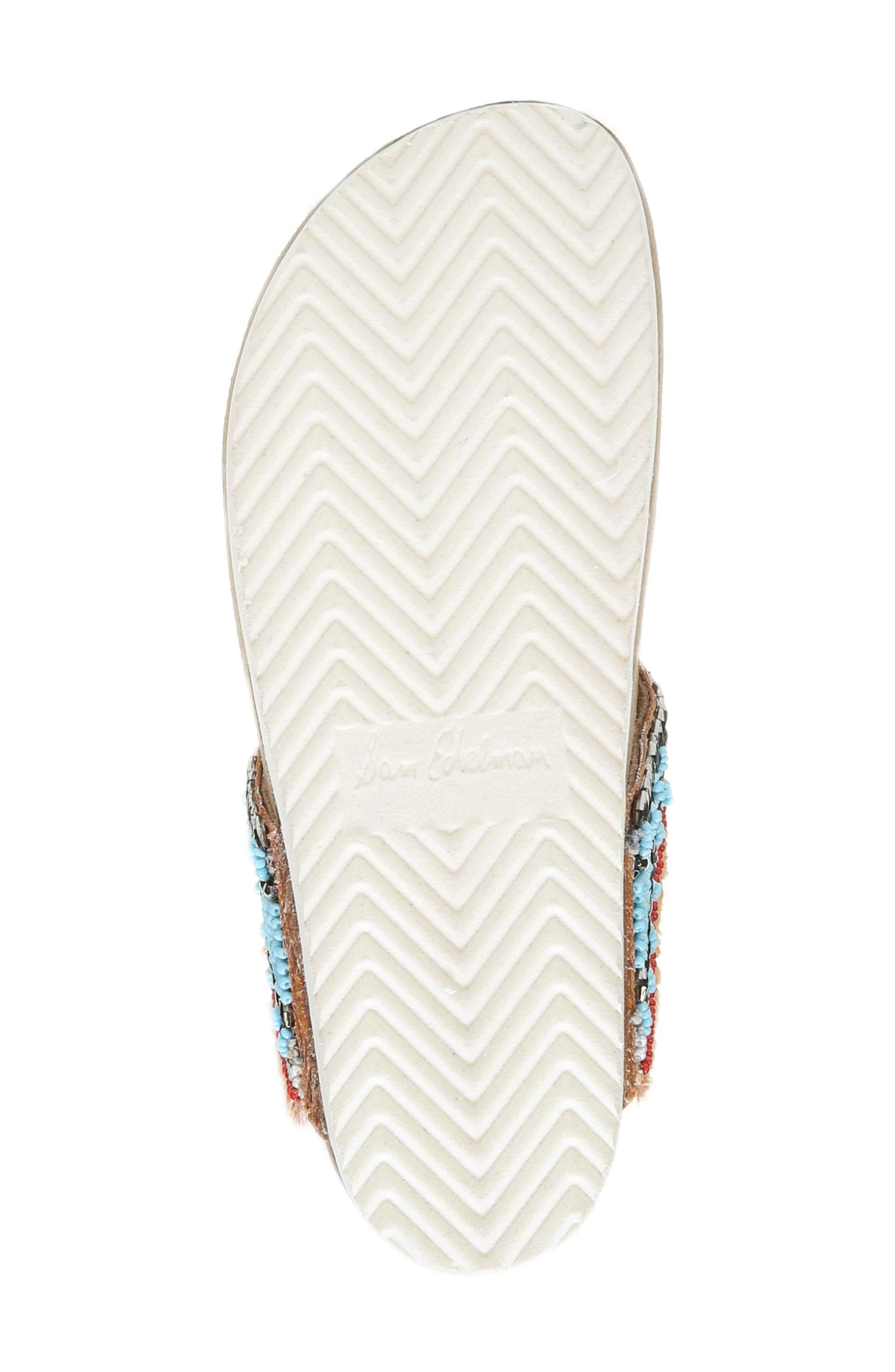 Olivie Beaded Flip Flop,                             Alternate thumbnail 6, color,                             SADDLE/ BLUE MULTI